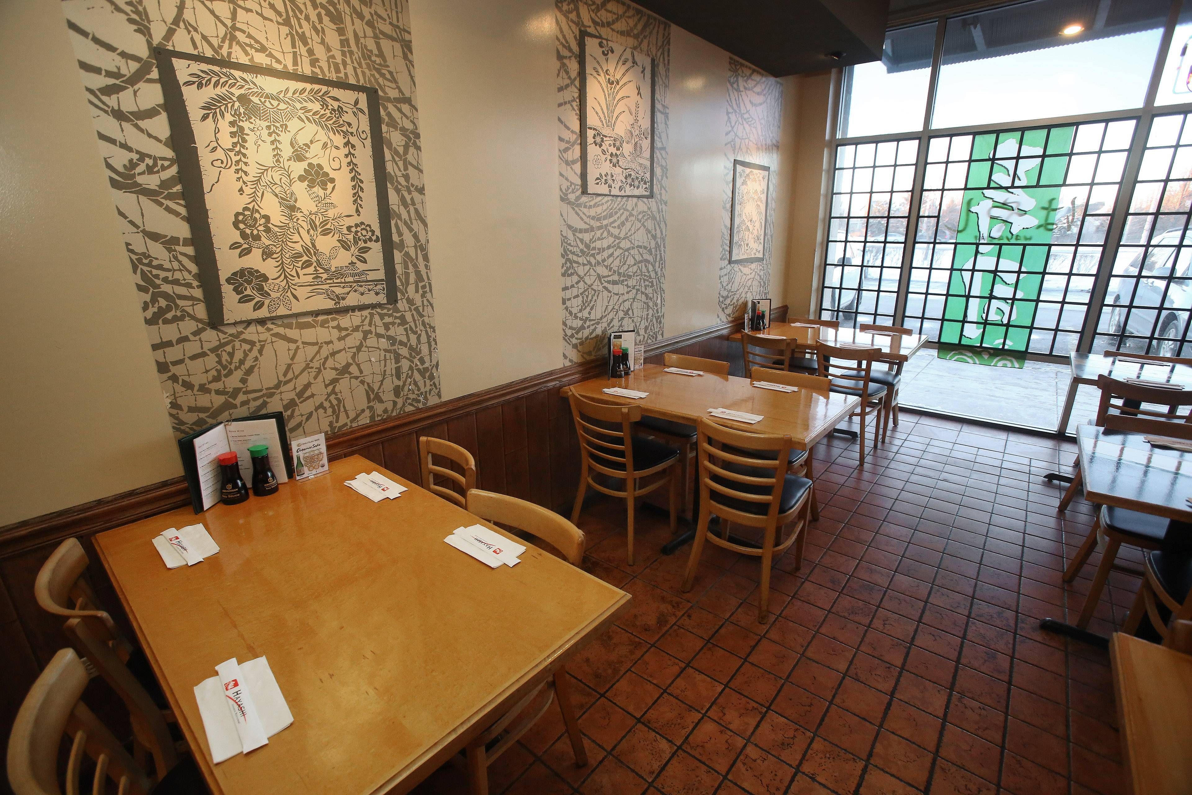 Dining room of Hayashi Japanese Restaurant in Gurnee owned by Inha Kim.