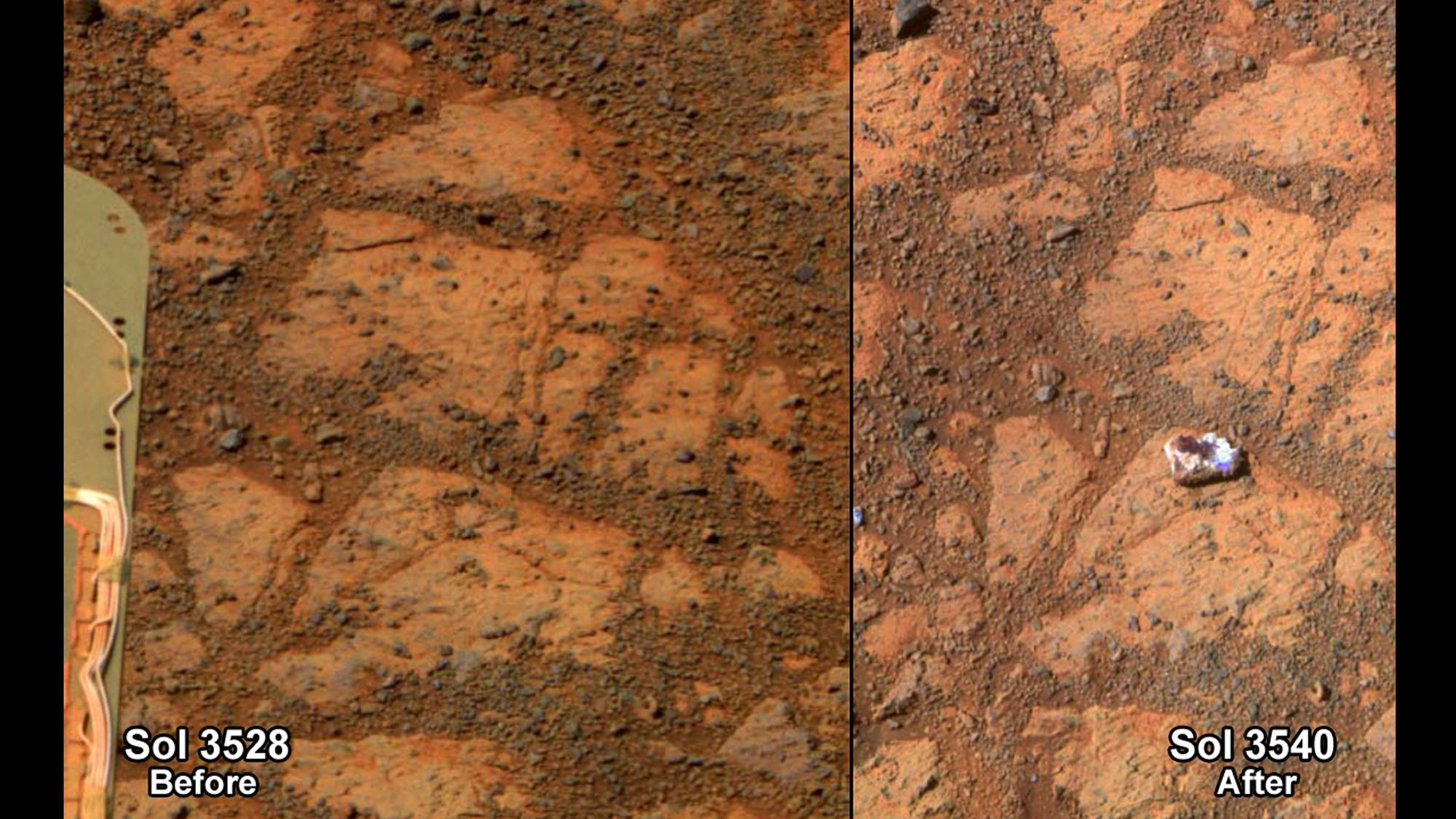 This composite image provided by NASA shows before and-after images taken by the Opportunity rover on Mars of a patch of ground taken on Dec. 26, 2013, left, and one of the same area on Jan. 8, 2014, that shows a rock shaped like a jelly doughnut. NASA on Friday said the rover Opportunity likely kicked up the rock into its field of view. Opportunity landed on Mars in 2004 and continues to explore.