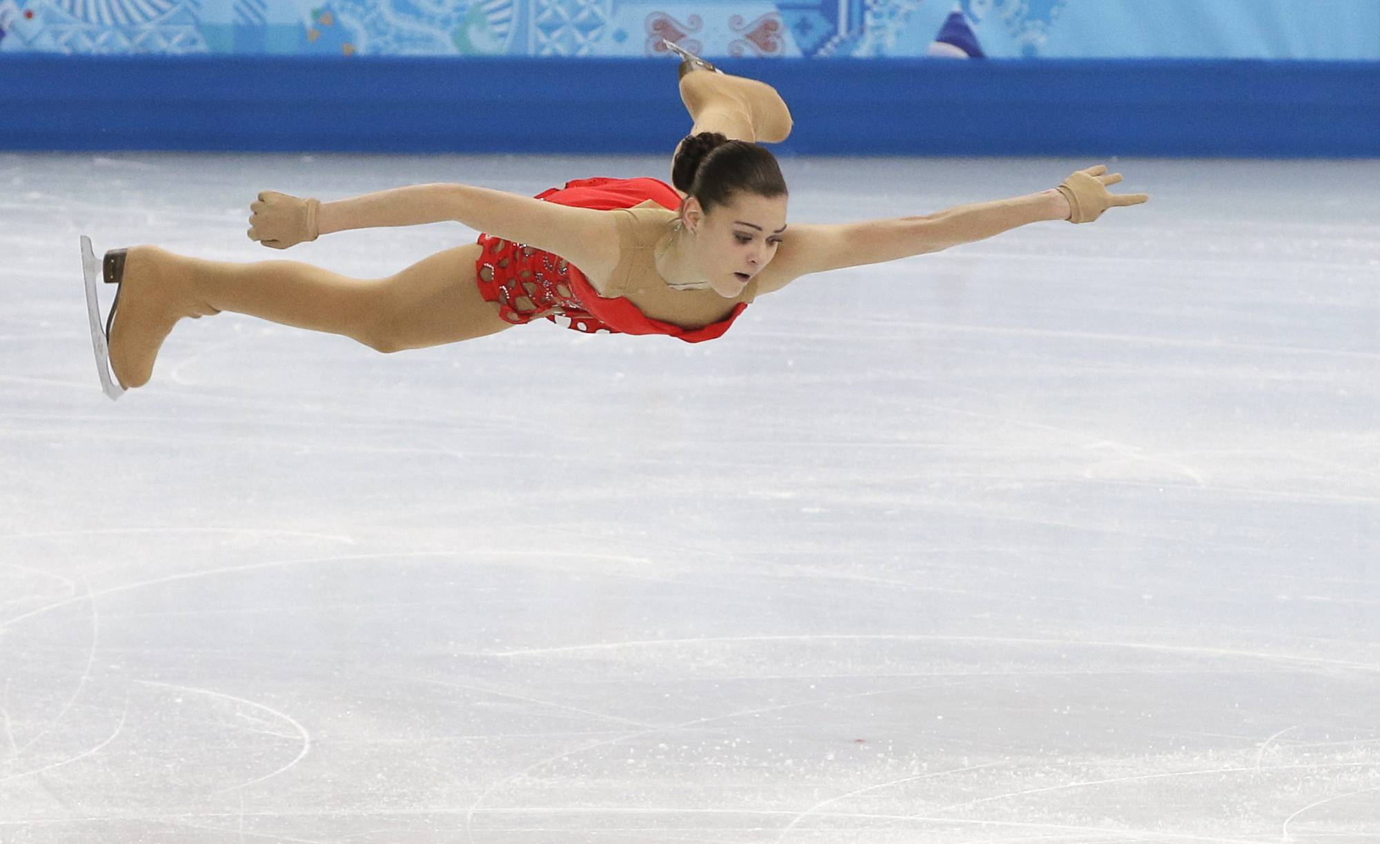Adelina Sotnikova of Russia competes in the women's short program figure skating competition.