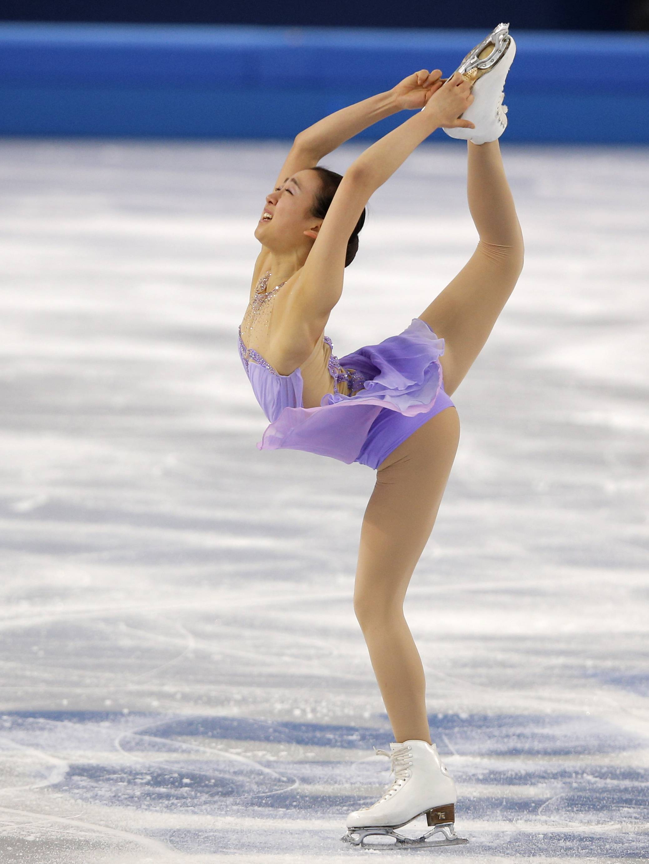 Mao Asada of Japan competes in the women's short program figure skating competition.