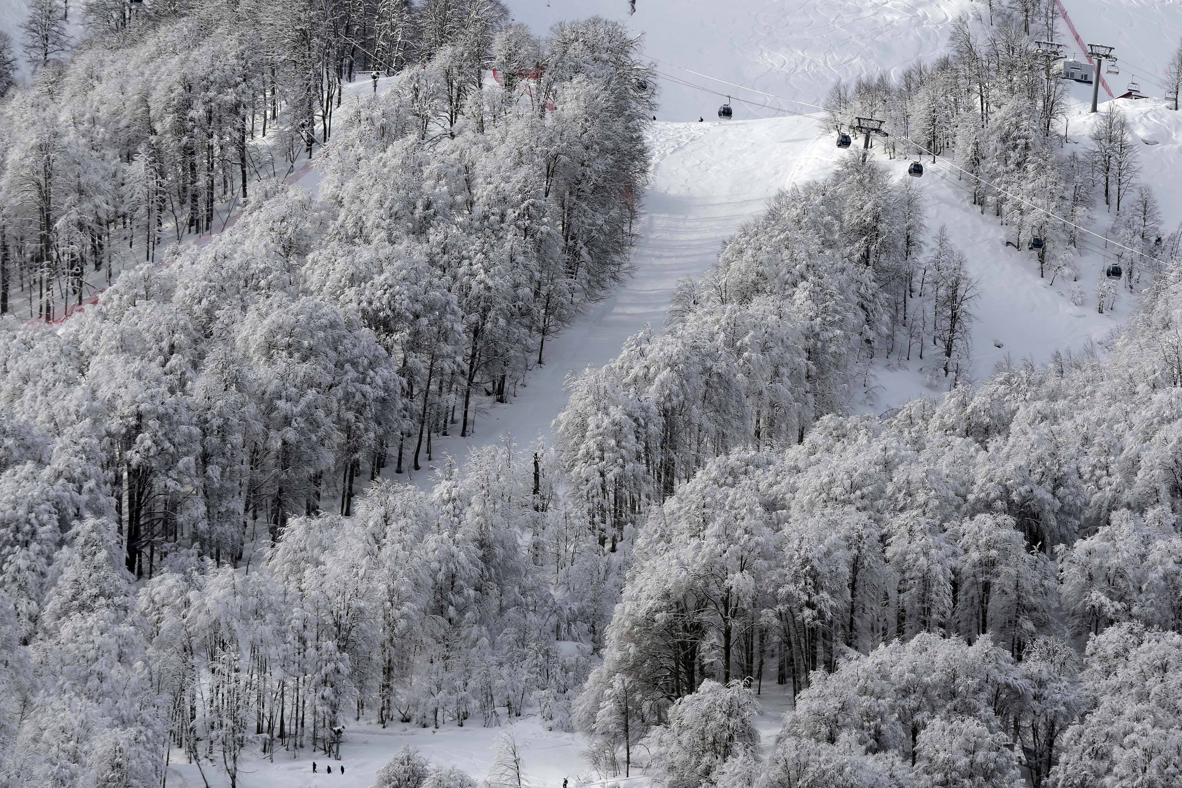A gondola passes a stand of trees Wednesday after an overnight dusting of snow during snowboard parallel giant slalom qualifying at the Rosa Khutor Extreme Park during the 2014 Winter Olympics in Krasnaya Polyana, Russia.