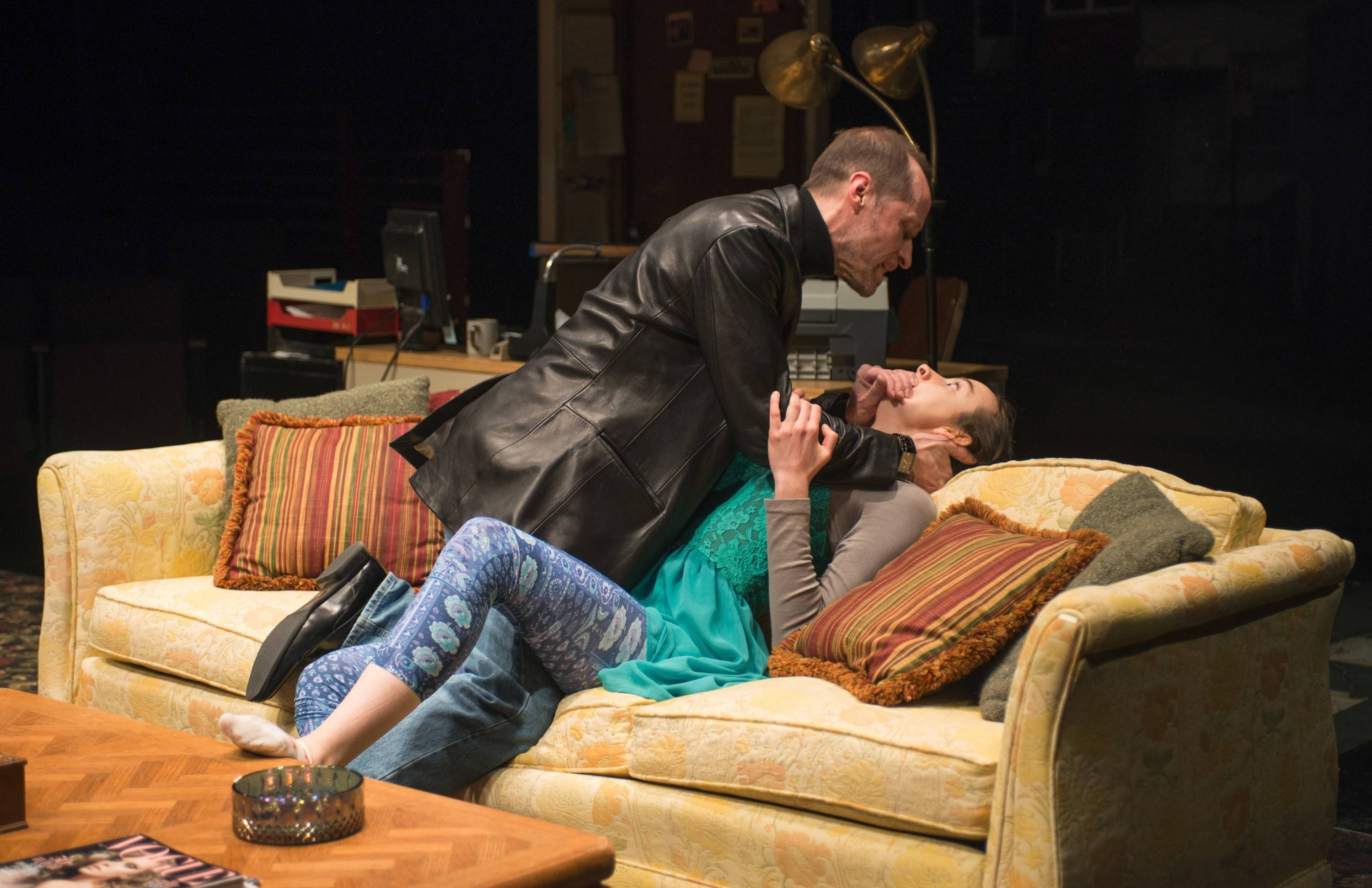 "Boris (Tim Hopper) threatens Mira (Melanie Neilan) in Steppenwolf Theatre Company's Chicago-premiere production of Erika Sheffer's ""Russian Transport."""