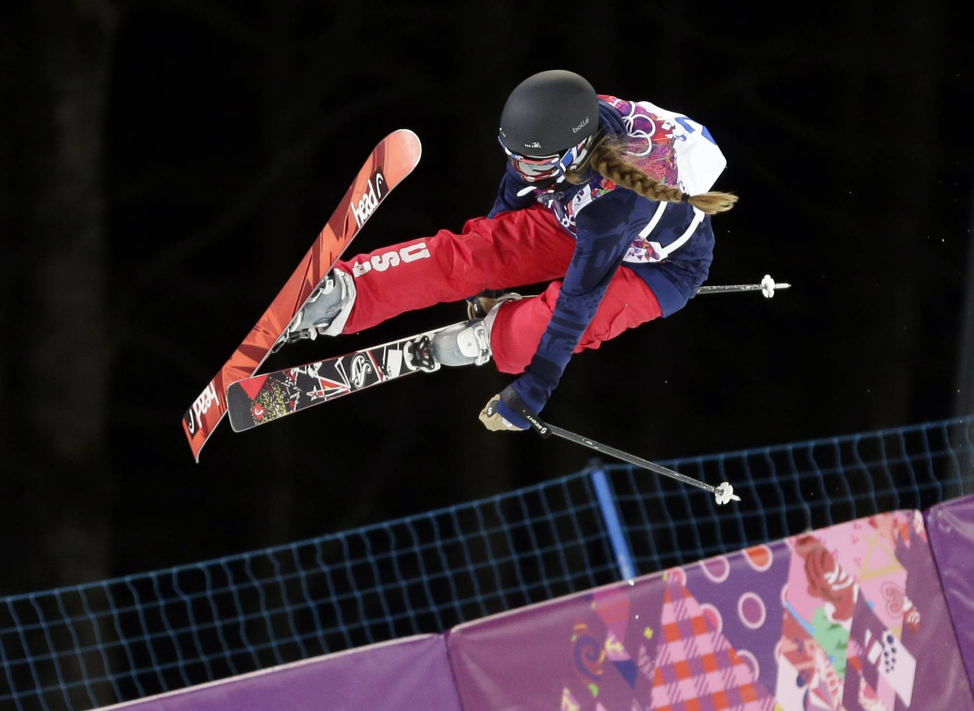 Maddie Bowman gets air Thursday during the women's halfpipe skiing qualifying at the Rosa Khutor Extreme Park during the 2014 Winter Olympics in Krasnaya Polyana, Russia.