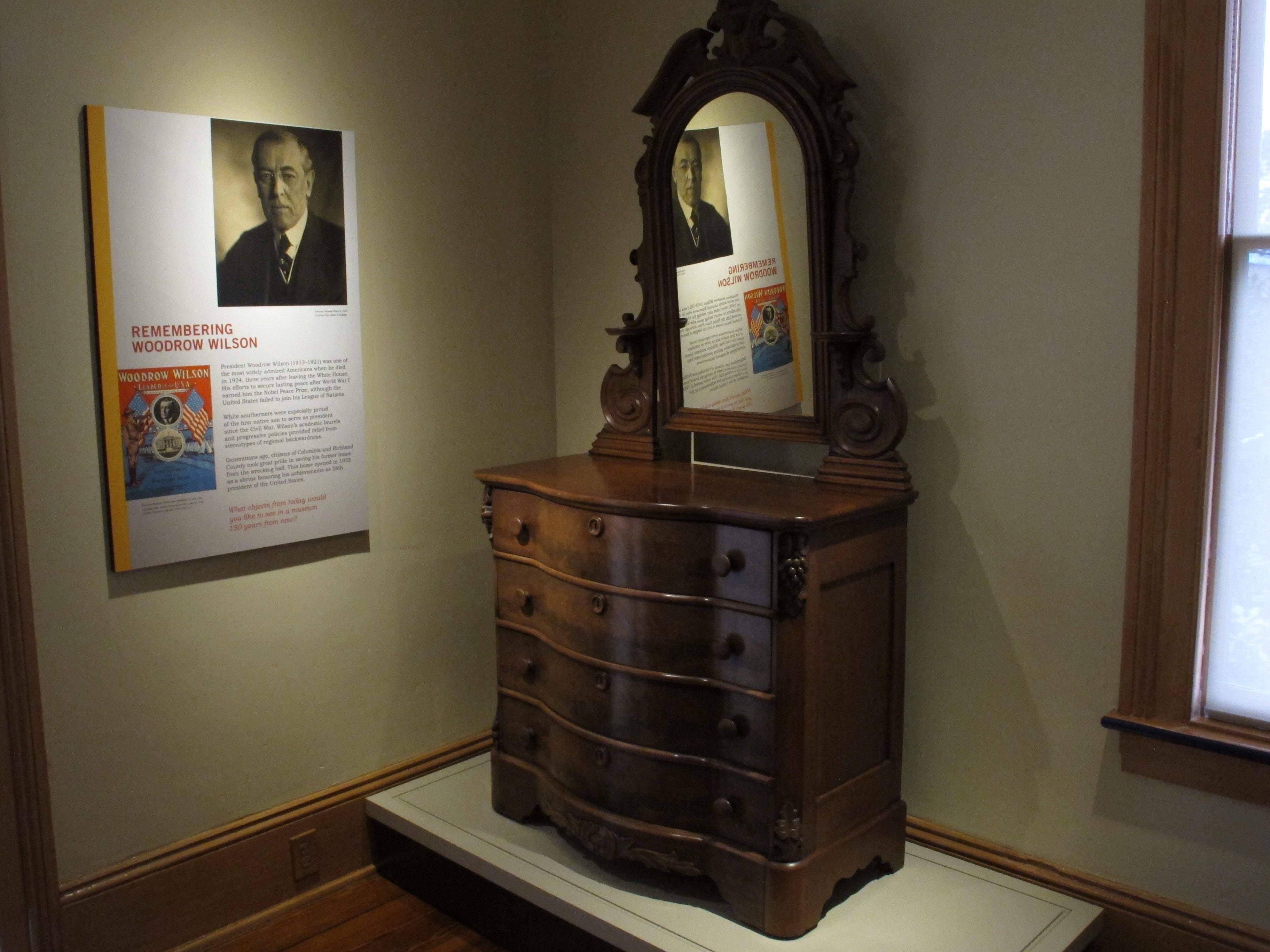 A dresser from the home where former President Woodrow Wilson was born is on display in his newly renovated boyhood house in Columbia, S.C.