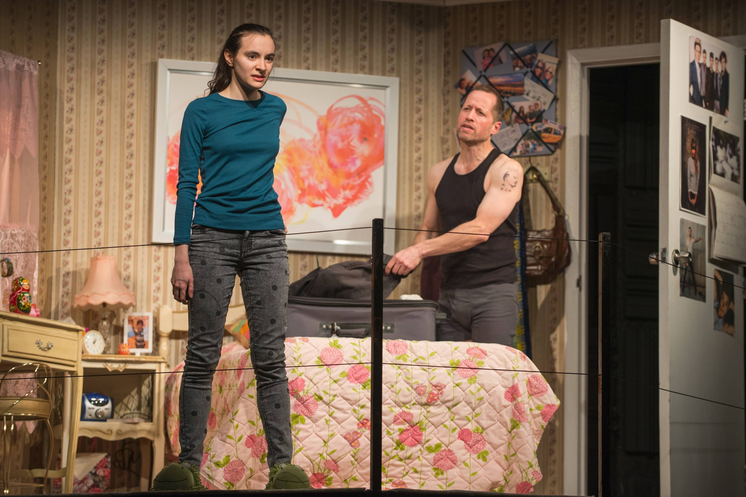 "Family dynamics for Mira (Melanie Neilan) and her parents are thrown off by the arrival of Uncle Boris (Tim Hopper) in Steppenwolf Theatre Company's Chicago-premiere production of ""Russian Transport."""