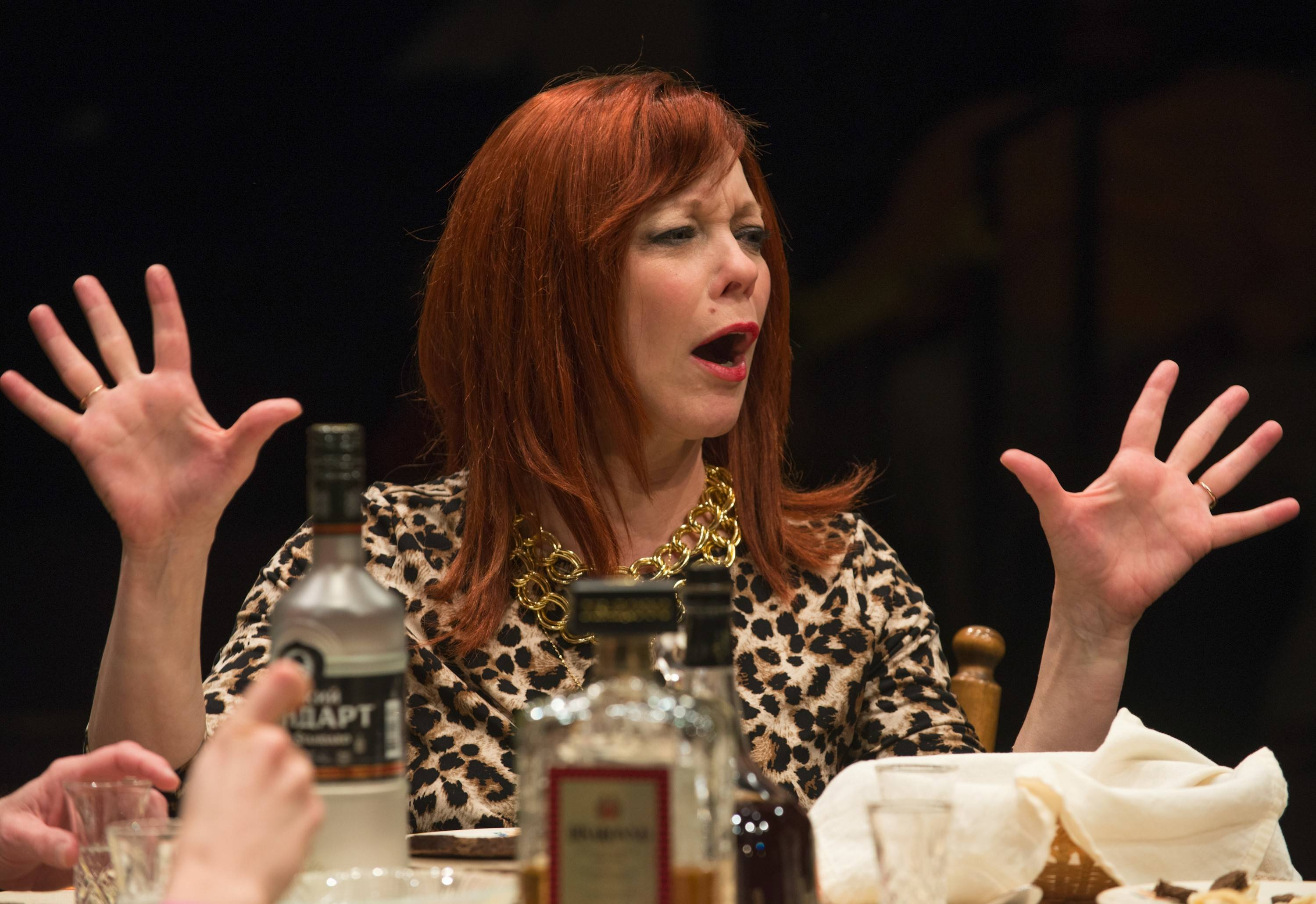 "Diana (Mariann Mayberry) enjoys a drink in Steppenwolf Theatre Company's production of ""Russian Transport,"" written by Erika Sheffer and directed by Yasen Peyankov."