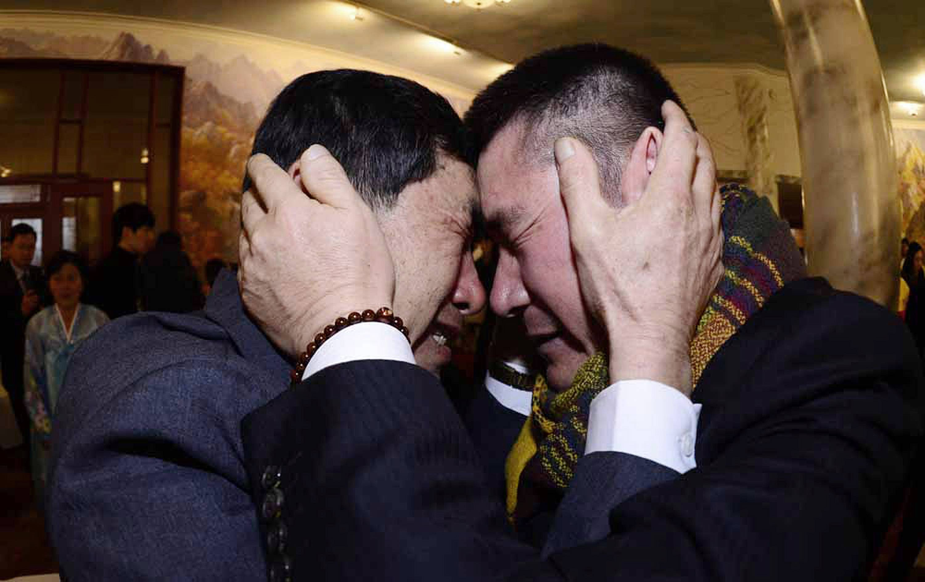 South Korean Park Yang-gon, left, and his North Korean brother Park Yang Soo get emotional as they met during the Separated Family Reunion Meeting at Diamond Mountain resort in North Korea, Thursday, Feb. 20, 2014. Elderly North and South Koreans separated for six decades are tearfully reuniting, grateful to embrace children, brothers, sisters and spouses they had thought they might never see again.