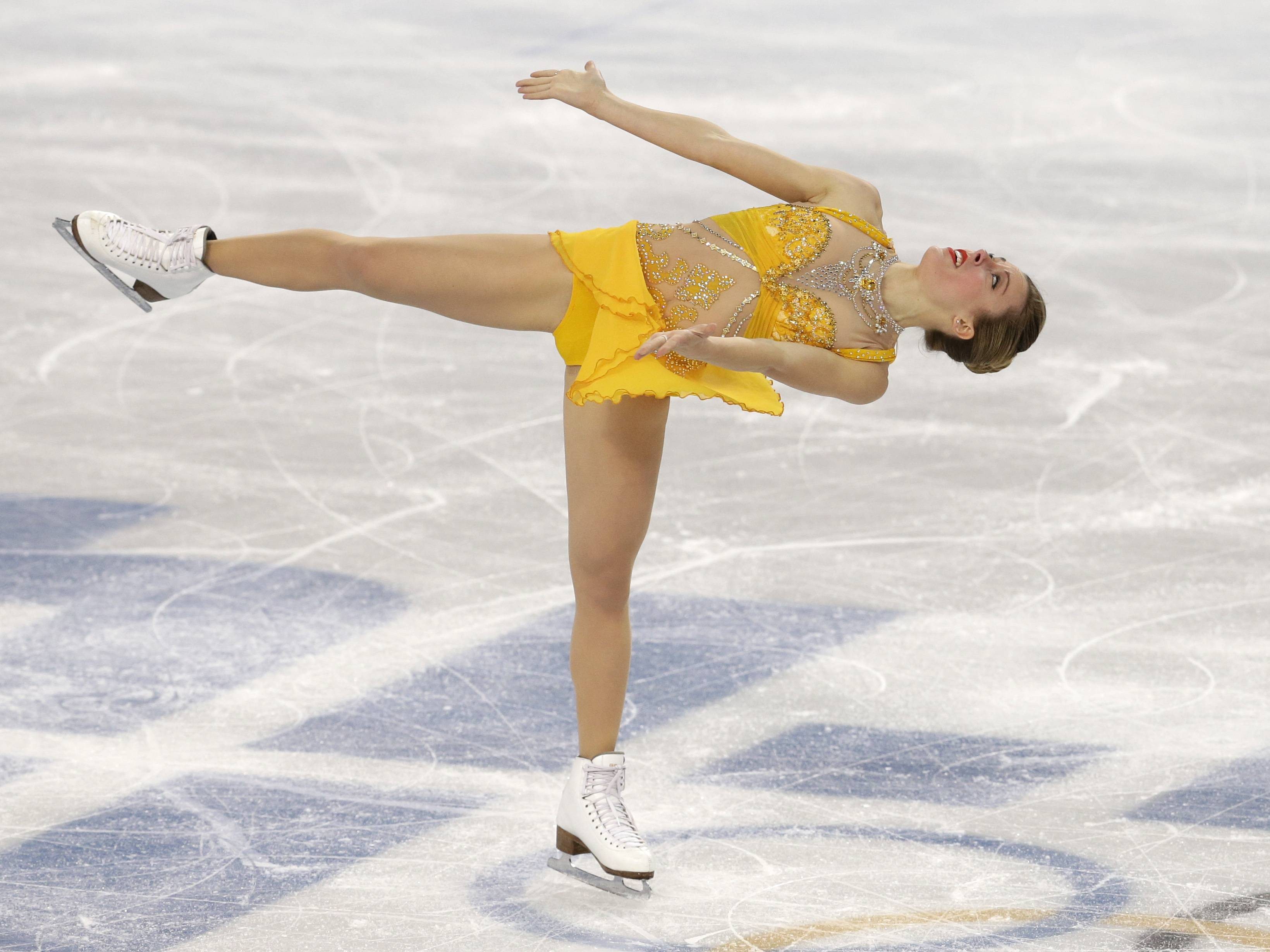 Ashley Wagner of the United States competes in the women's free skate figure skating finals.