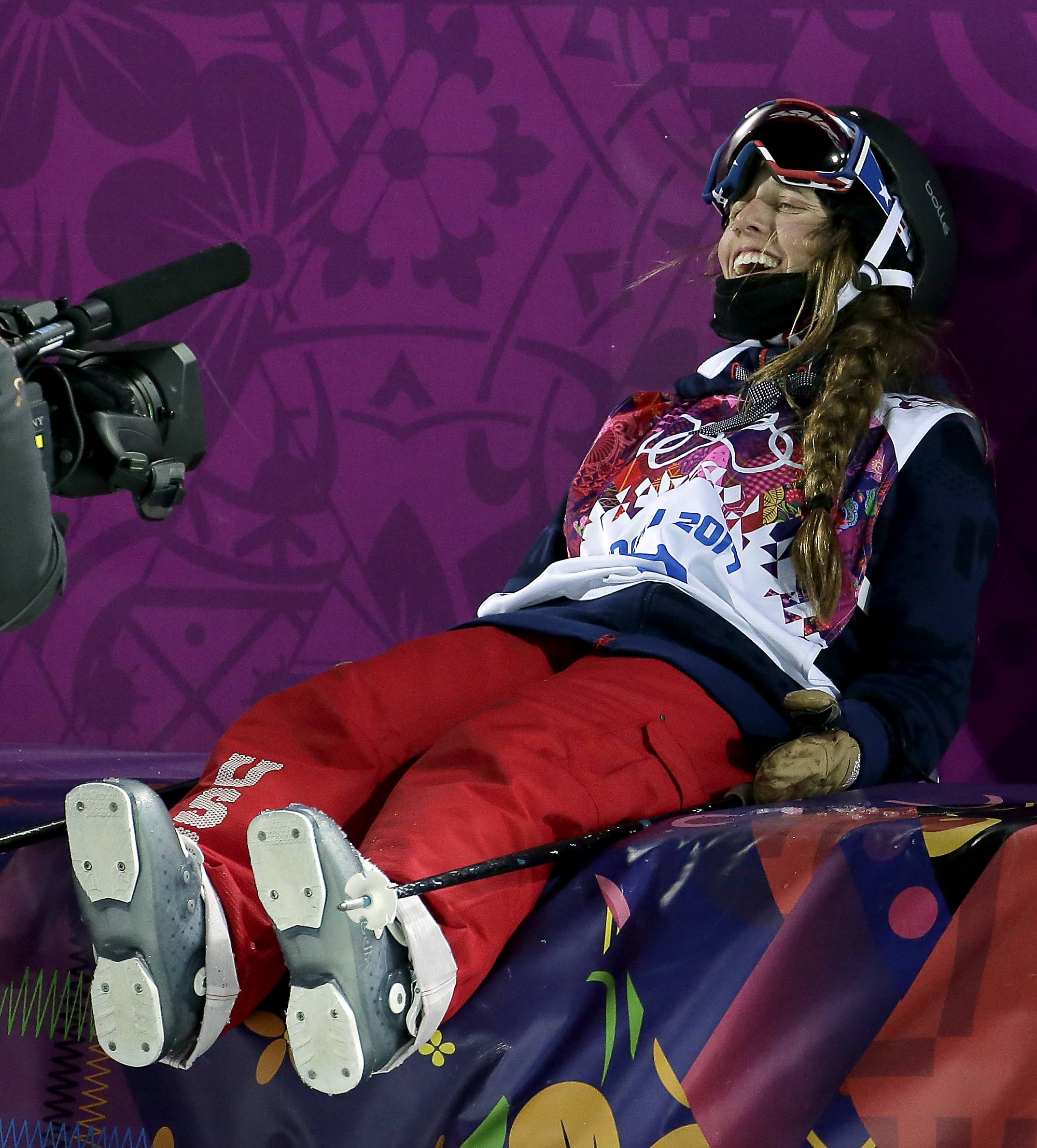 Gold medalist Maddie Bowman of the United States reacts after her first run in the finals of the women's ski halfpipe.