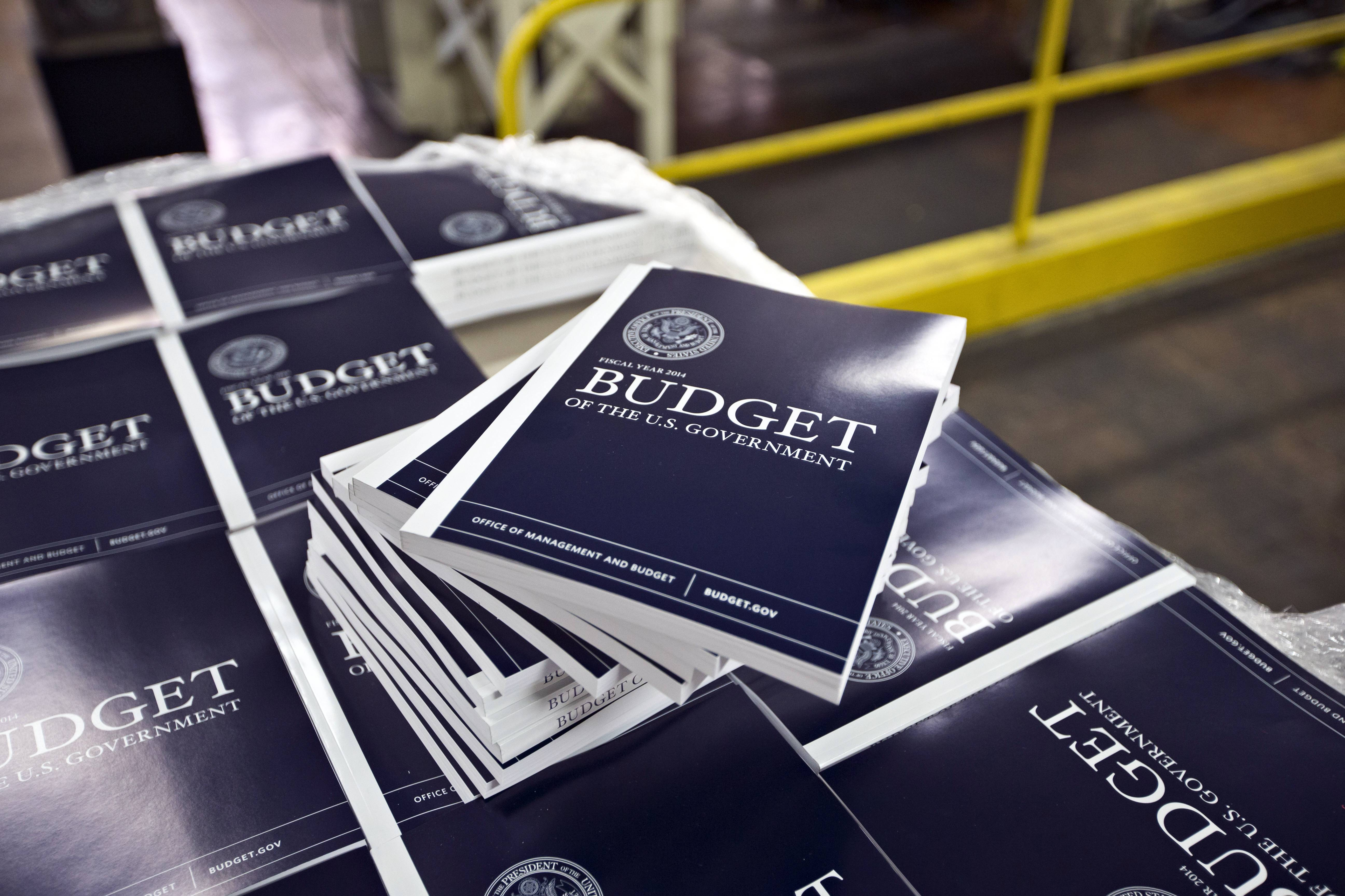 Copies of President Barack Obama's budget plan for fiscal year 2014 are prepared for delivery at the U.S. Government Printing Office in Washington.