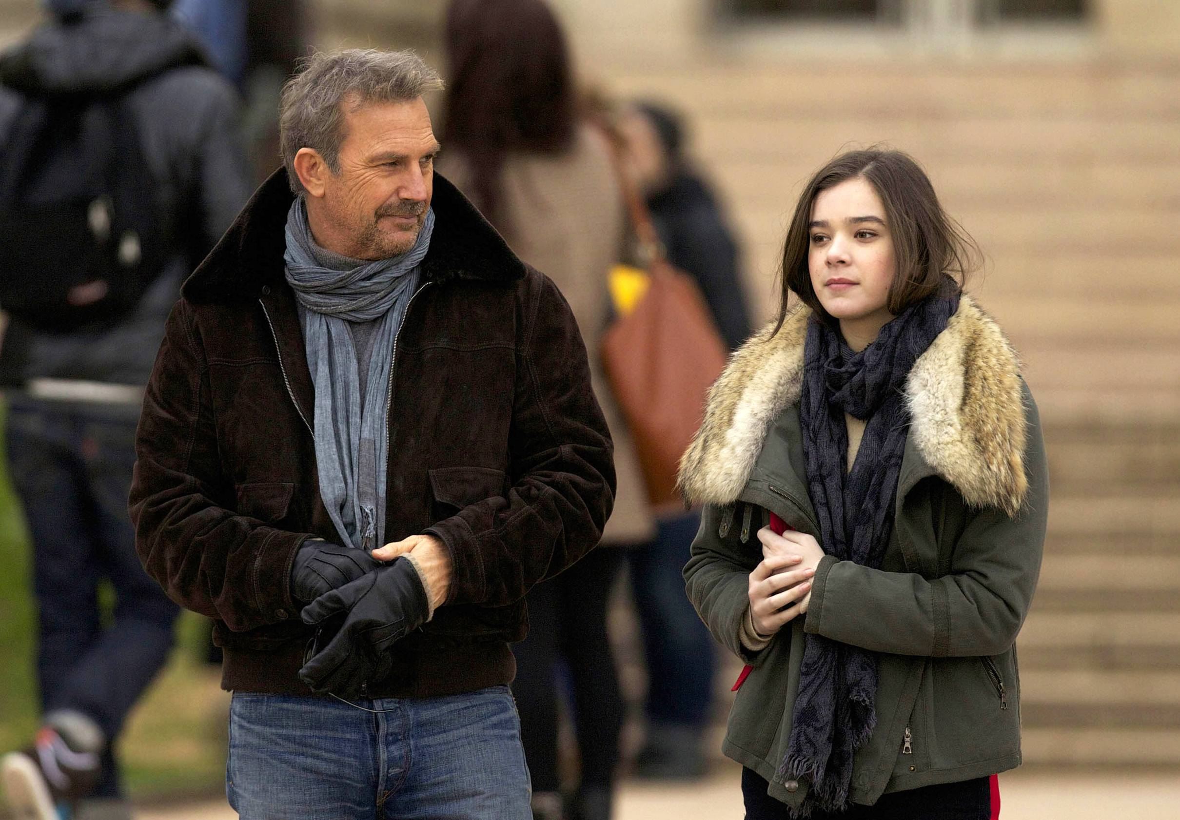 "Former CIA operative Ethan Renner (Kevin Costner) tries to bond with his daughter Zoey (Hailee Steinfeld) in ""3 Days to Kill."""