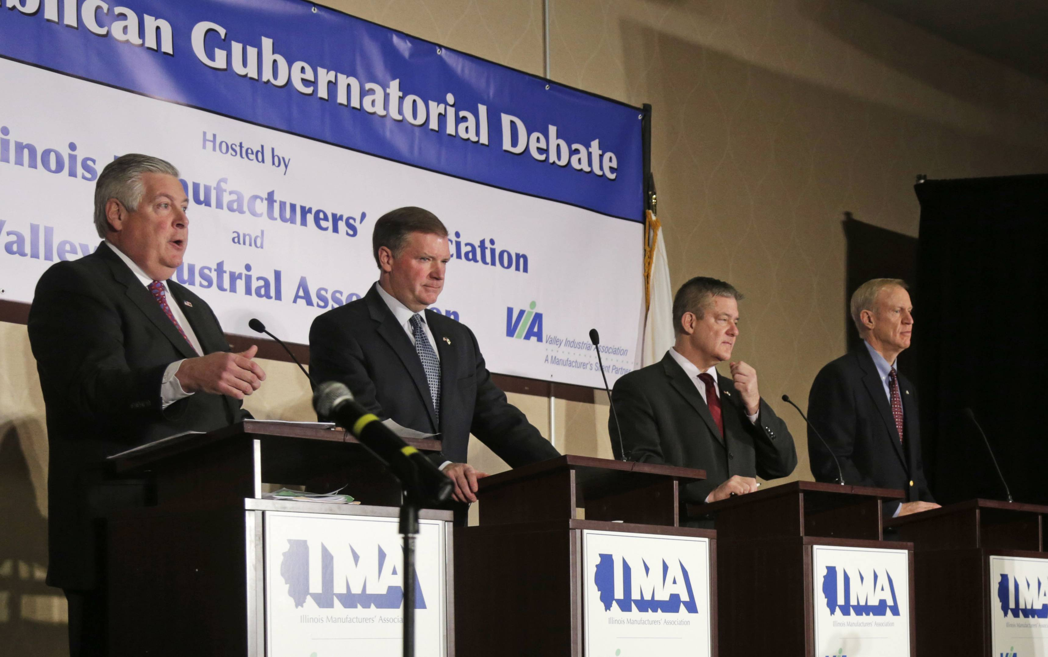 The four candidates seeking the GOP nomination for governor — from left, state Sens. Kirk Dillard and Bill Brady, state Treasurer Dan Rutherford and venture capitalist Bruce Rauner — generally oppose building more prisons.