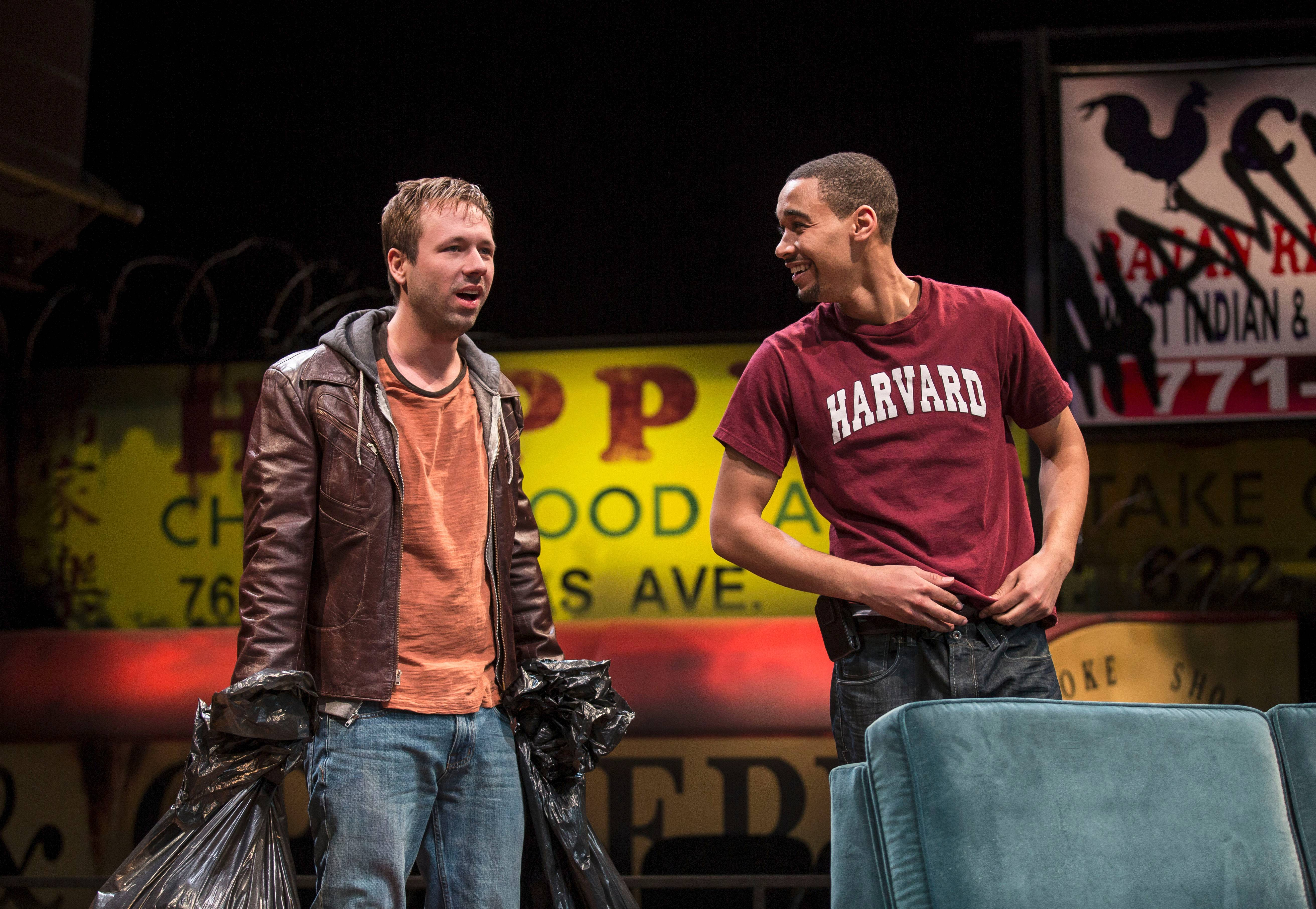 "Jackson (Eric Lynch), right, invites his longtime friend, Don (Shane Kenyon), to move into his new home in the Chicago premiere of Tracey Scott Wilson's ""Buzzer"" at the Goodman Theatre."