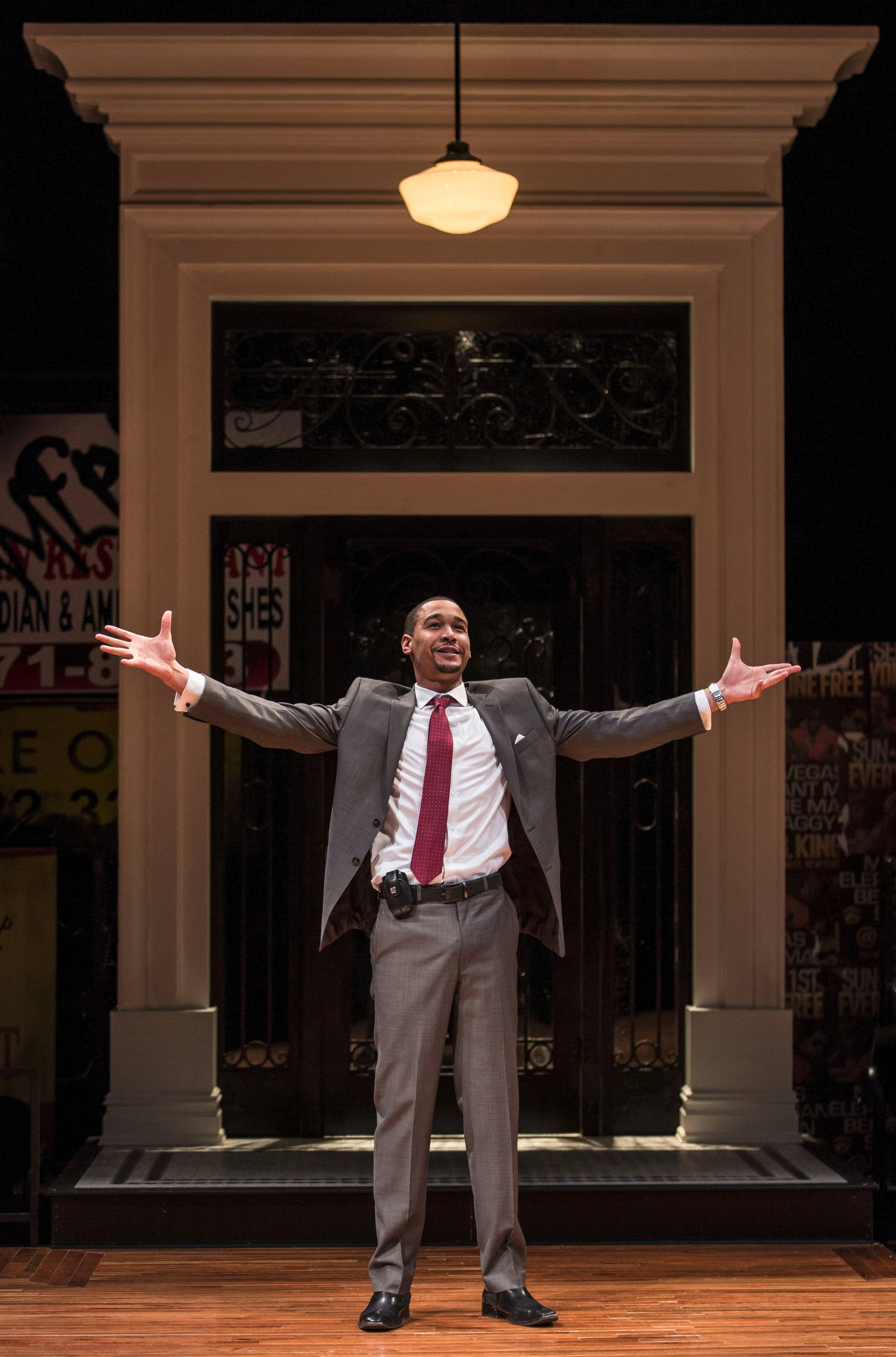 "Self-proclaimed ""gentrifier"" Jackson (Eric Lynch) is amazed by all of the space in his newly renovated home in Tracey Scott Wilson's ""Buzzer"" at the Goodman Theatre."