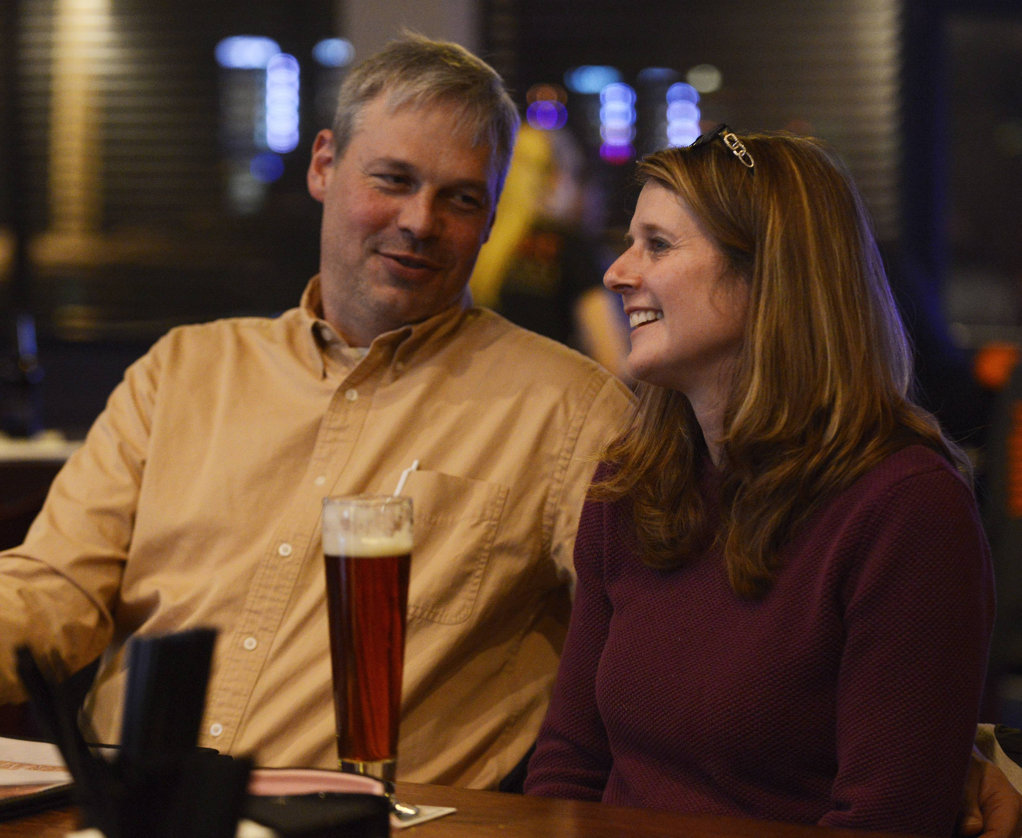 Bill and Karen Niemerg of Streamwood have drinks at Fireside Ale House in Streamwood.