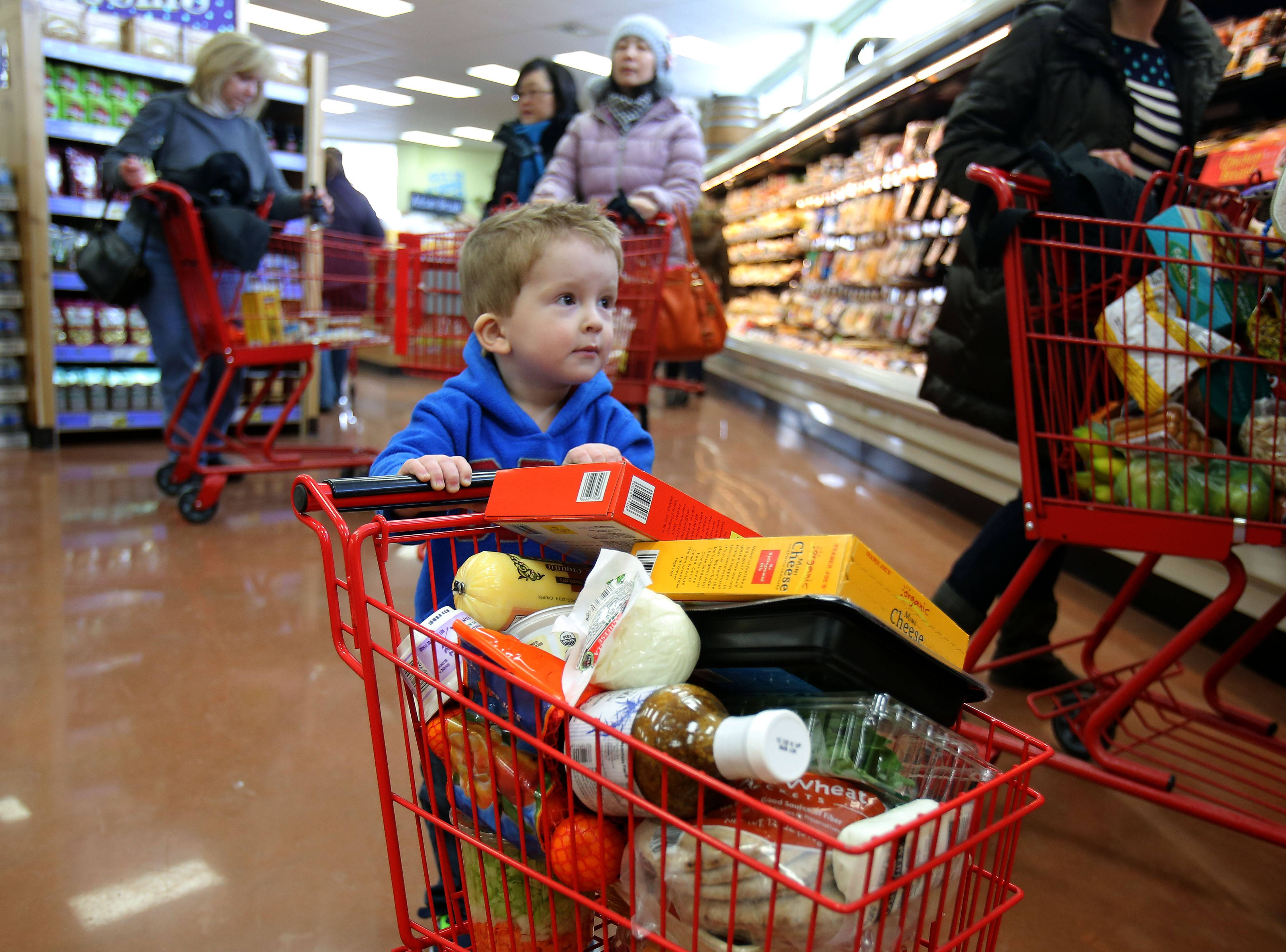 Carter Worth, 2, of Grayslake helps his mom shop during Trader Joe's grand opening Friday in Libertyville.