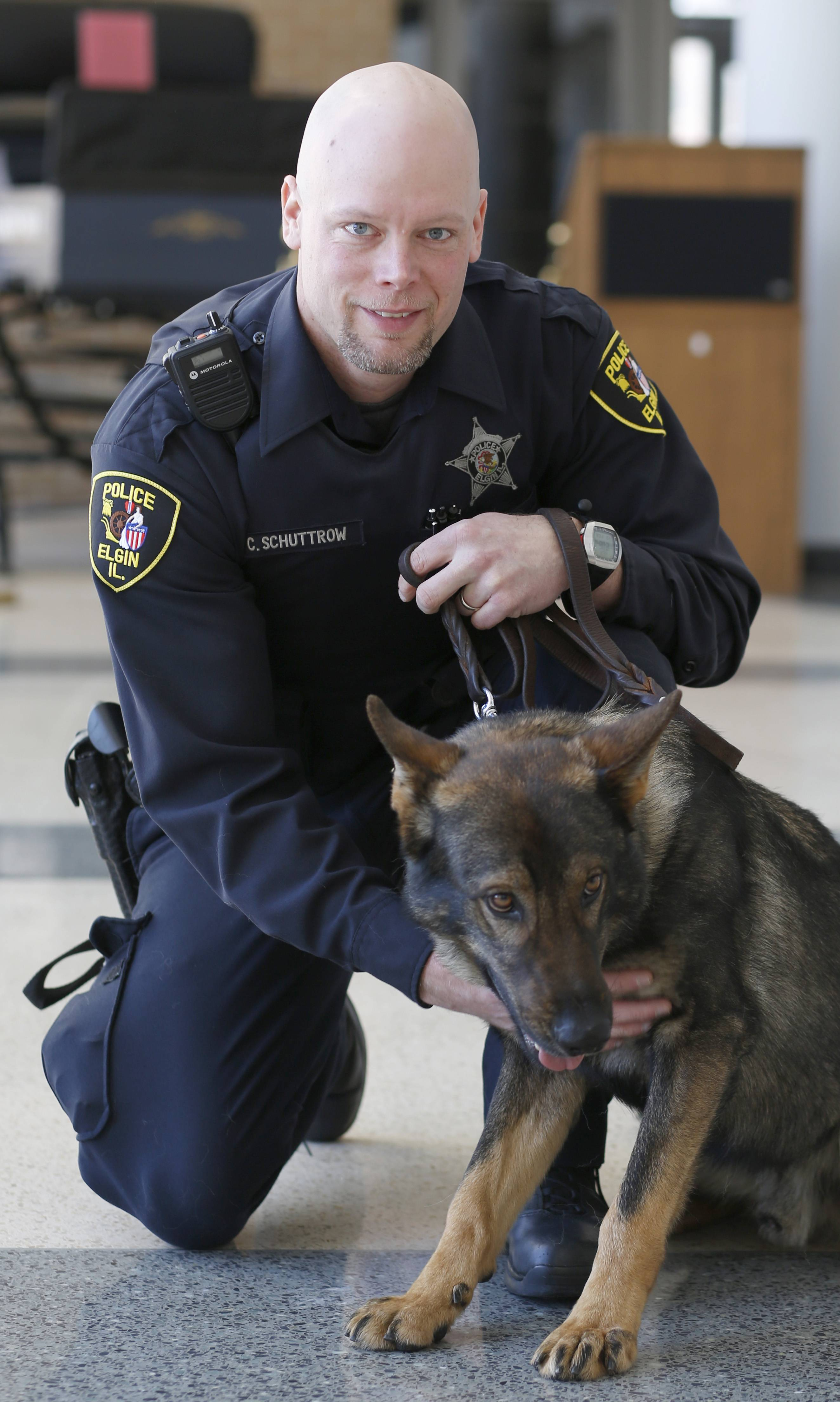 Elgin Police Officer Chad Schuttrow and his police dog, Colt, a German shepherd, have already made several narcotics detections since November.