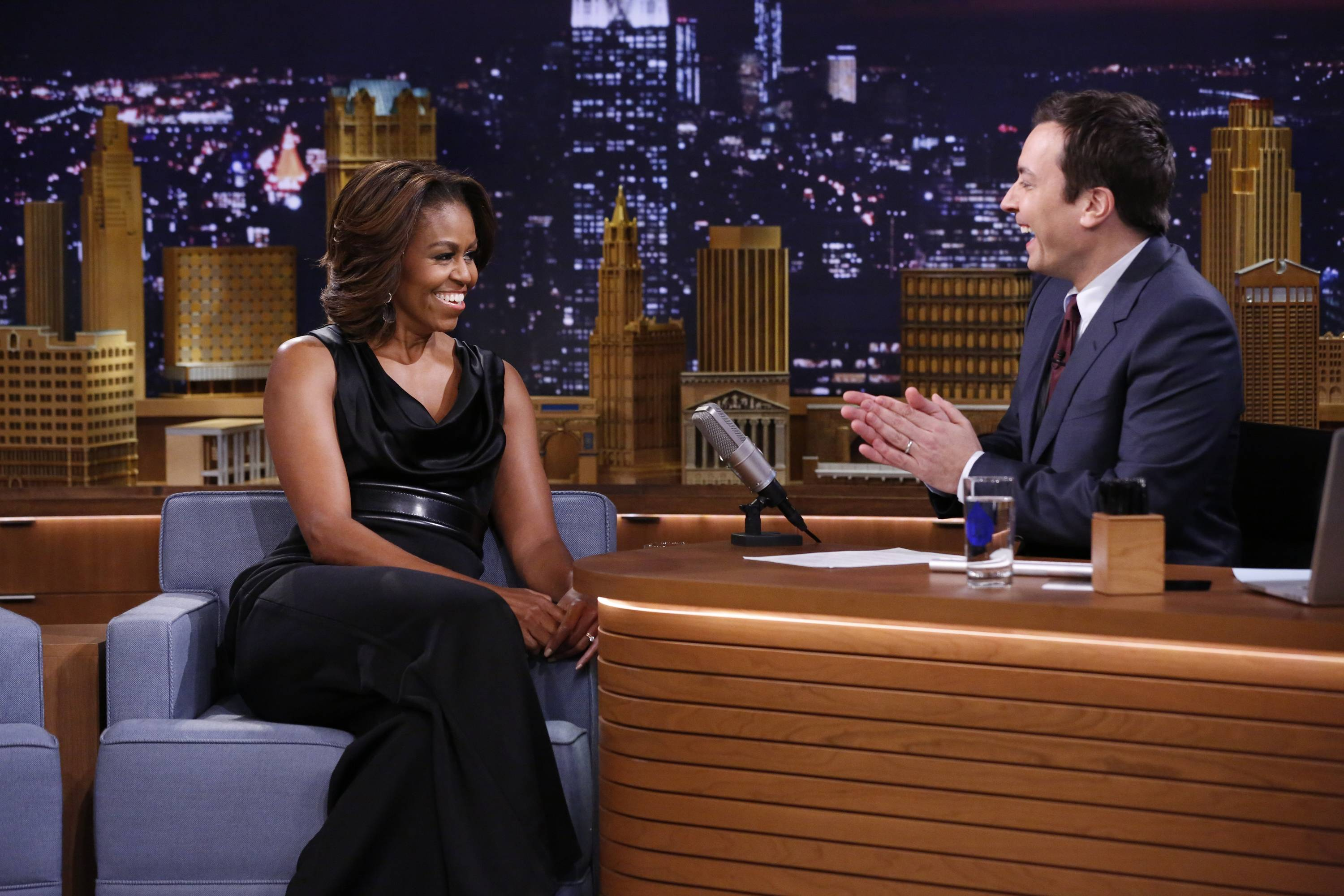 First lady Michelle Obama during an interview with host Jimmy Fallon on Thursday Feb. 20, 2014.