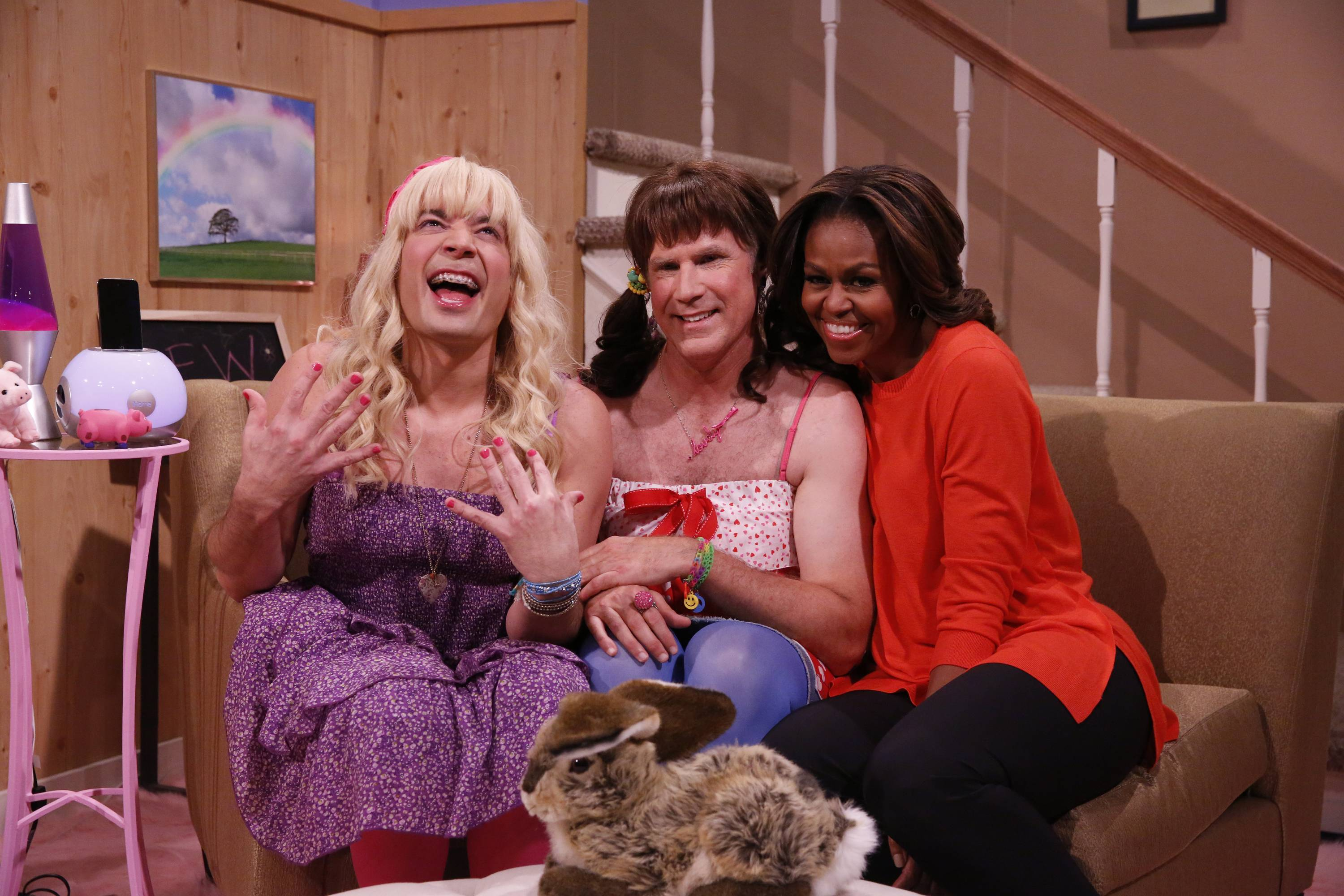 "From left: Host Jimmy Fallon, actor Will Ferrell, first lady Michelle Obama during the ""Ew"" skit on Thursday Feb. 20, 2014 during comedian Fallon's inaugural week as the new ""Tonight Show"" host."