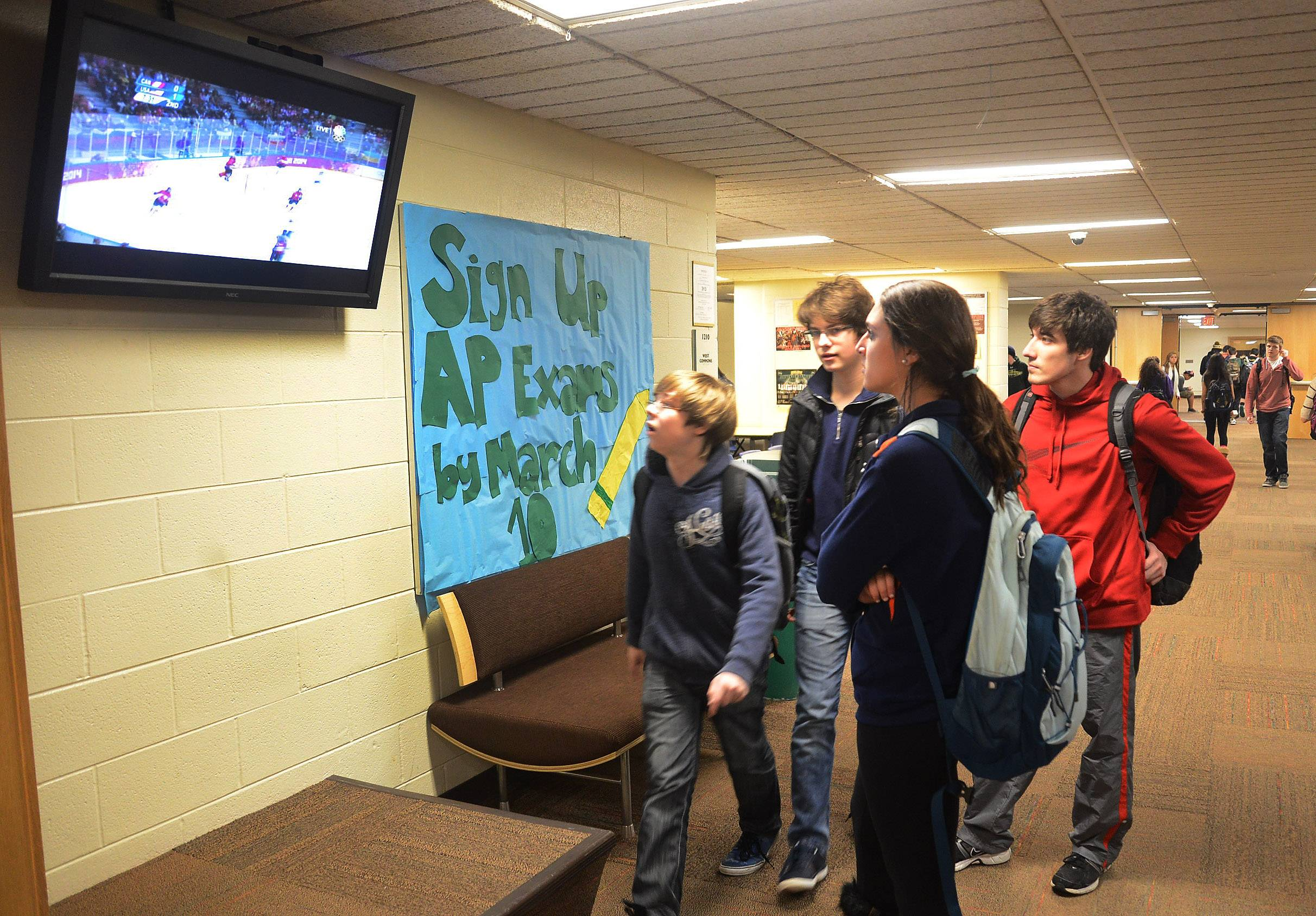Stevenson High School students watched the U.S. women's hockey team, including alum Megan Bozek, lose to Canada for the gold medal at the 2014 Winter Olympic Games in Sochi, Russia.