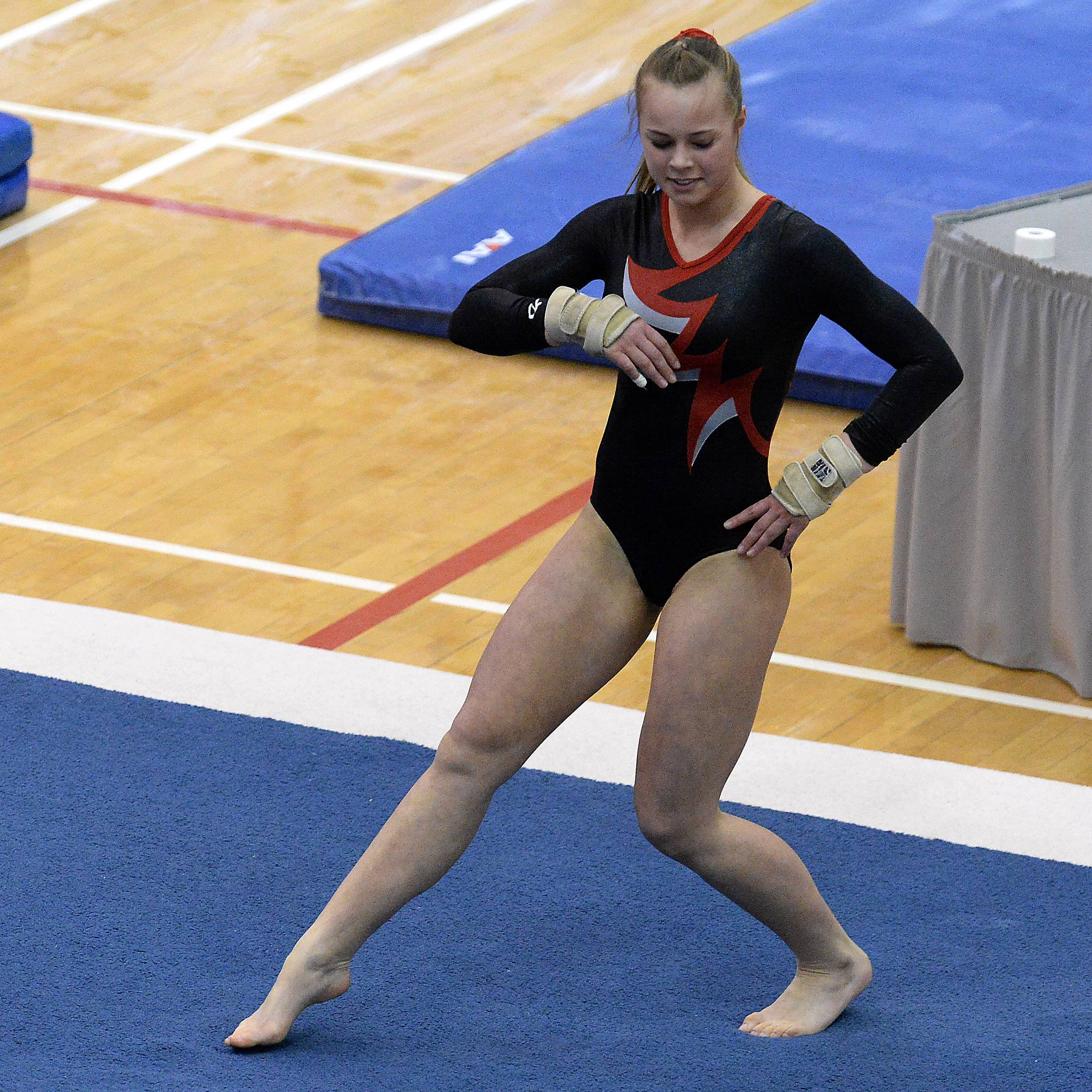 McKenzie Kehr of Mundelein on the floor exercise in girls gymnastics state finals in Palatine on Friday.