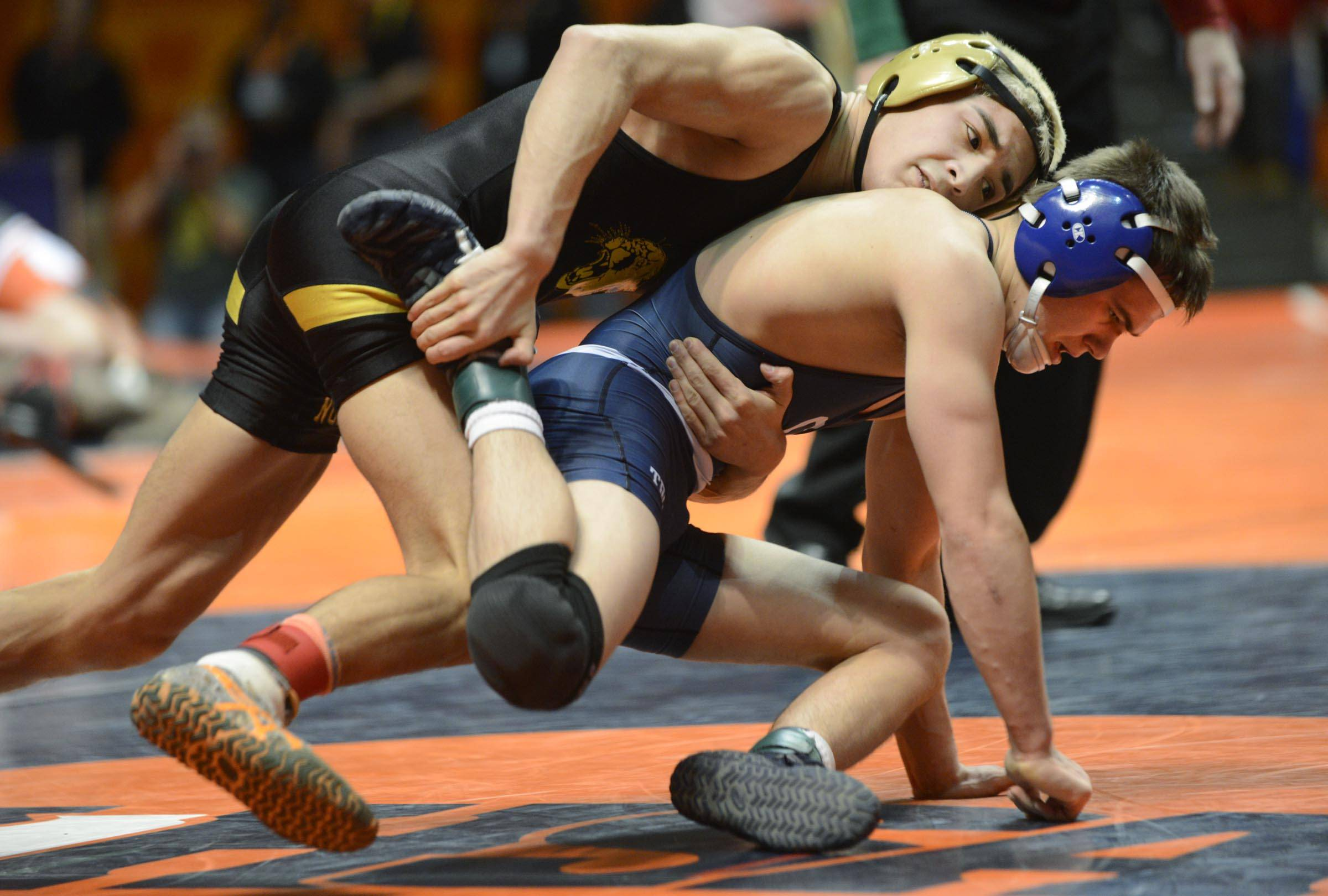 Jon Marmolejo of Glenbard North controls Logan Hanselman of Cary-Grove Friday in quarterfinals of the 126-pound weight class of the 3A IHSA state tournament. Marmolejo won.