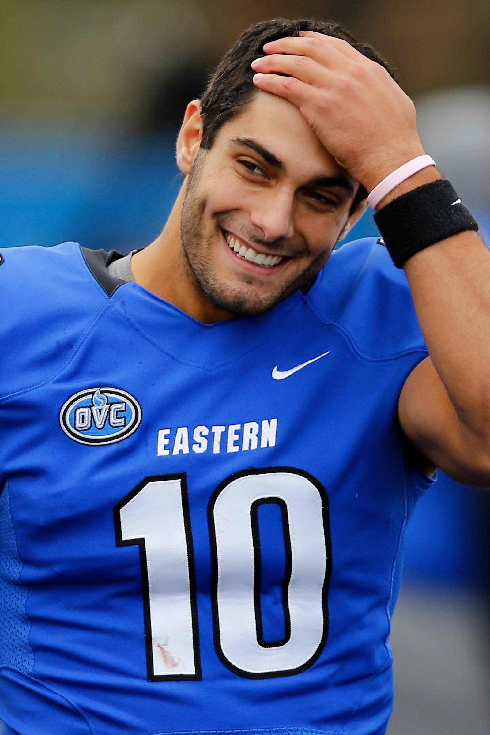 FILE - This Nov. 2, 2013 file photo shows Eastern Illinois quarterback Jimmy Garoppolo  on the sideline during the second half of an NCAA football game against Tennessee Tech at O'Brien Field in Charleston, Ill. Garoppolo and fellow Walter Payton Award finalist Terrance West of Towson have been selected to The Associated Press FCS All-America team, Wednesday, Dec. 18, 2013.