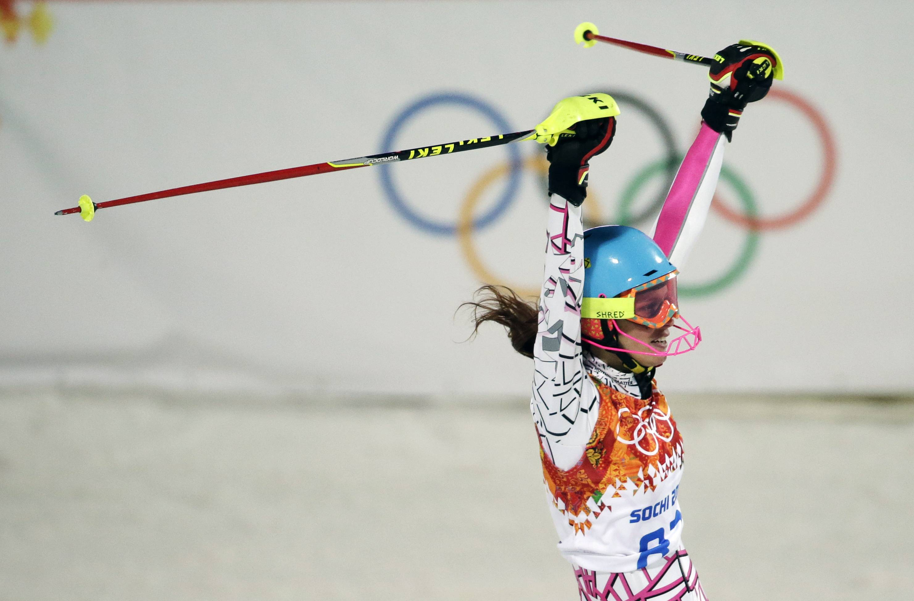 Lebanon's Jacky Chamoun reacts after finishing the second run of the women's slalom.