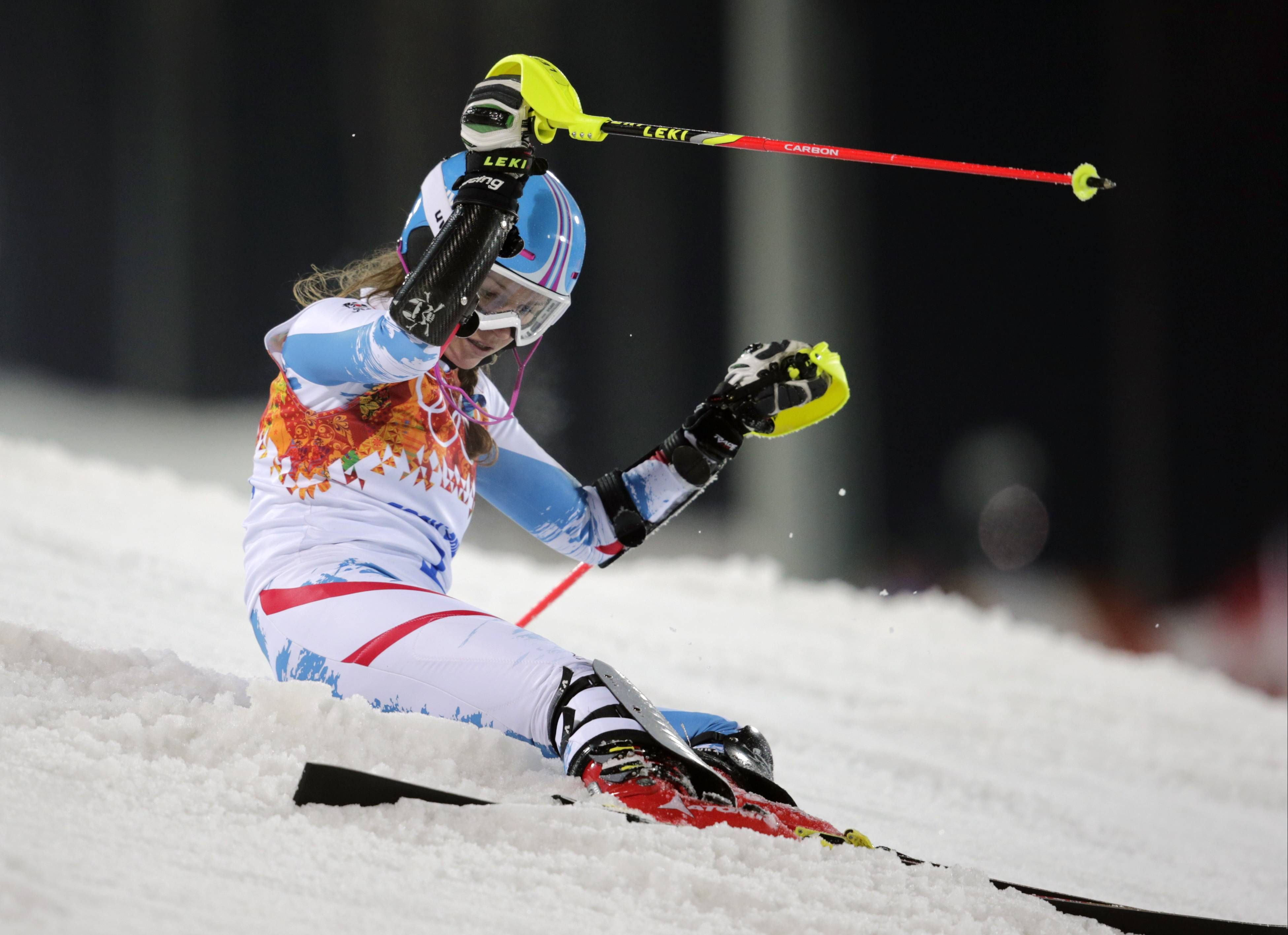 Austria's Bernadette Schild reacts after skiing out of the second run in the women's slalom.