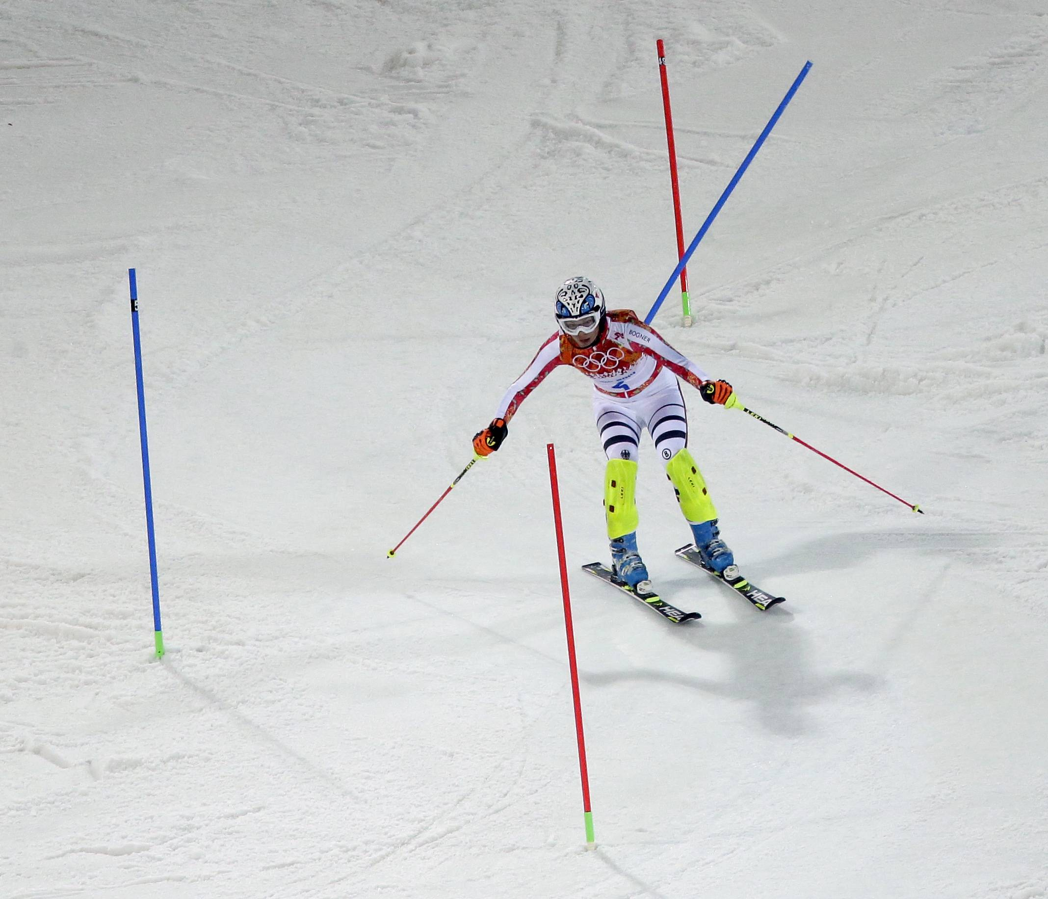 Germany's Maria Hoefl-Riesch skis in her second run in the women's slalom.
