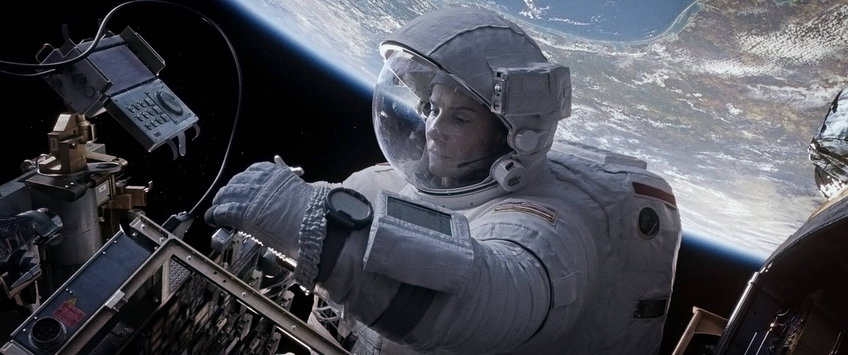 "Dr. Ryan Stone (Sandra Bullock) finds herself stranded in space in ""Gravity,"" now on DVD."