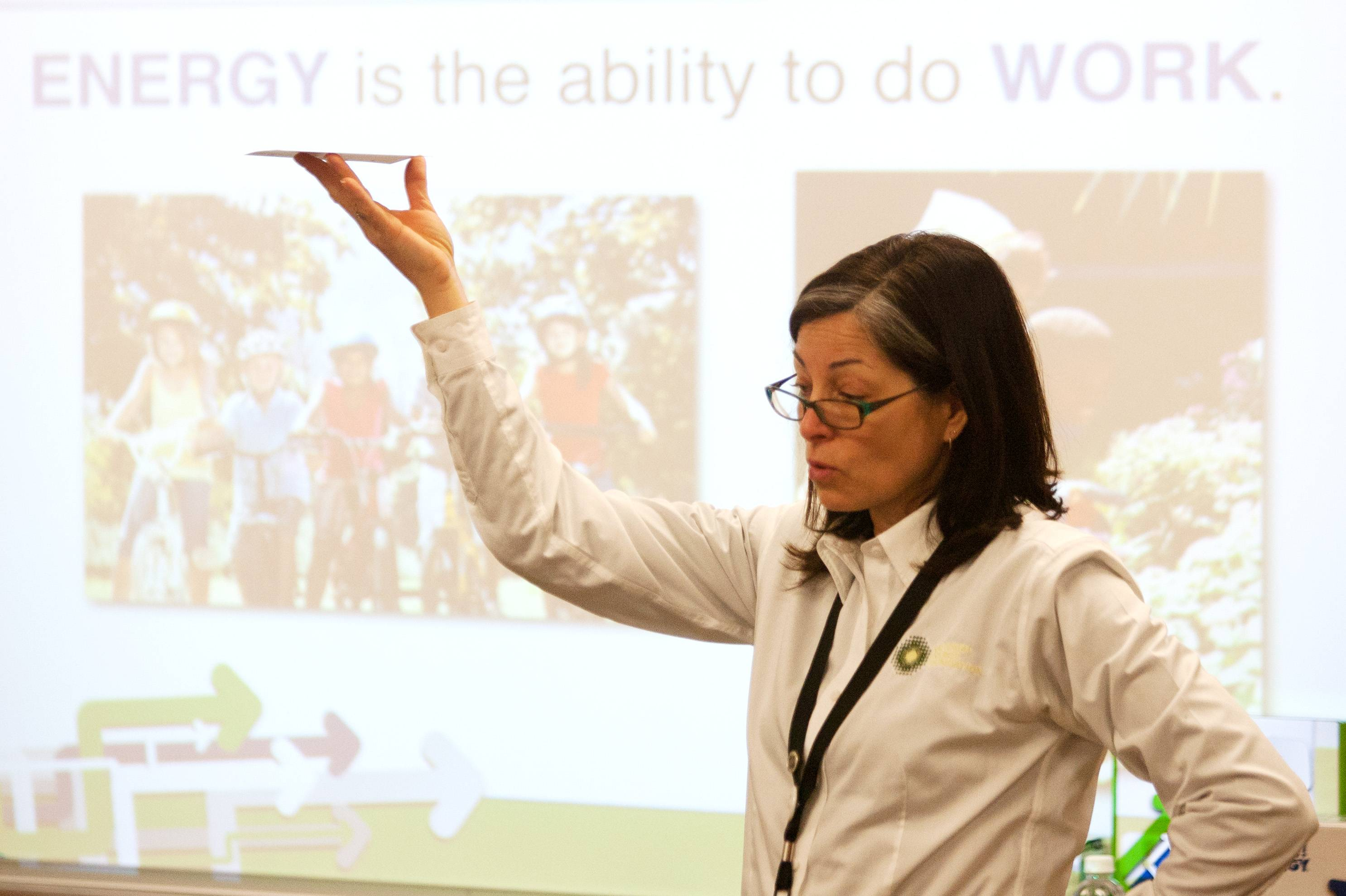 National Energy Foundation presenter Tammi Phillippe talks to Glen Ellyn students Friday about the importance of saving energy.