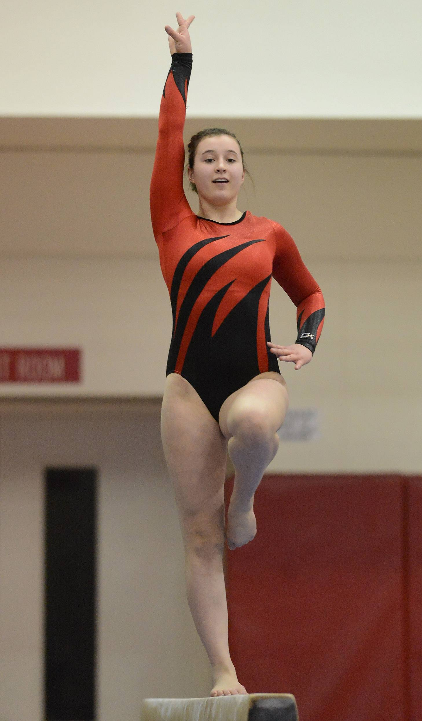 Jill Schuberth of Naperville Central finishing fifth on the balance beam during State Girls Gymnastics Saturday at Palatine High School .