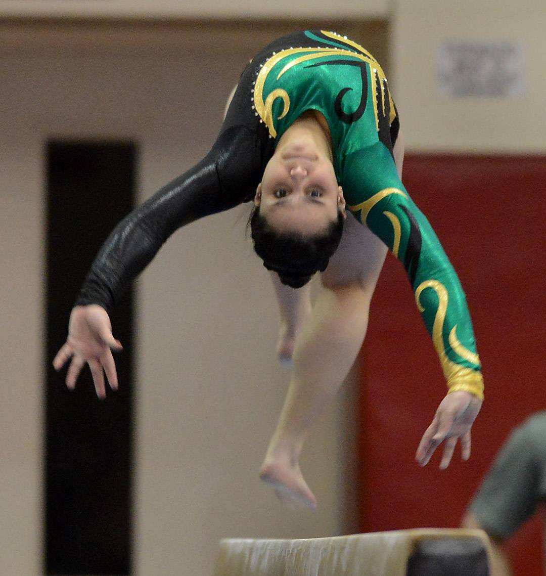 Alyssa Weisberg of Stevenson taking first place on the balance beam at State Girls Gymnastics Saturday at Palatine High School.