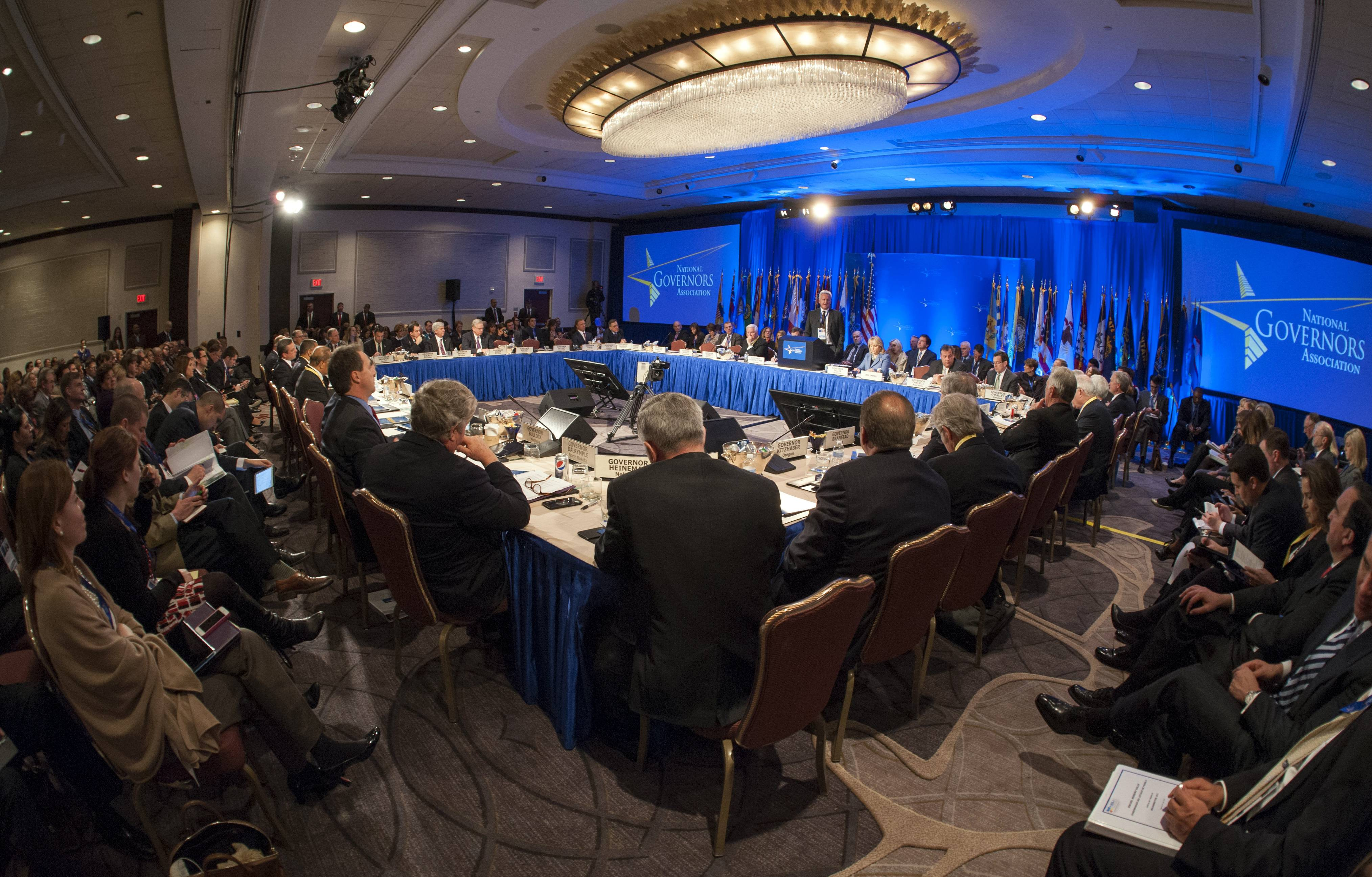 Governors from across the U.S. meet Saturday during the National Governor's Association Winter Meeting in Washington.
