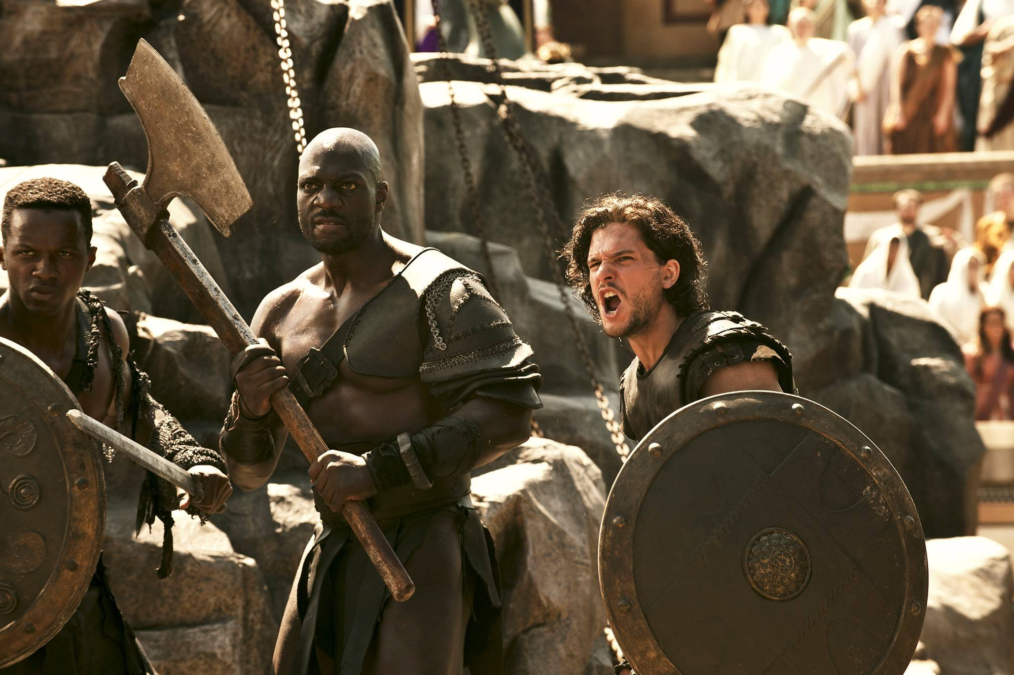 "Milo (Kit Harington) and Atticus (Adewele Akinnouye-Agbaje) get ready for battle in ""Pompeii,"" out in theaters now."