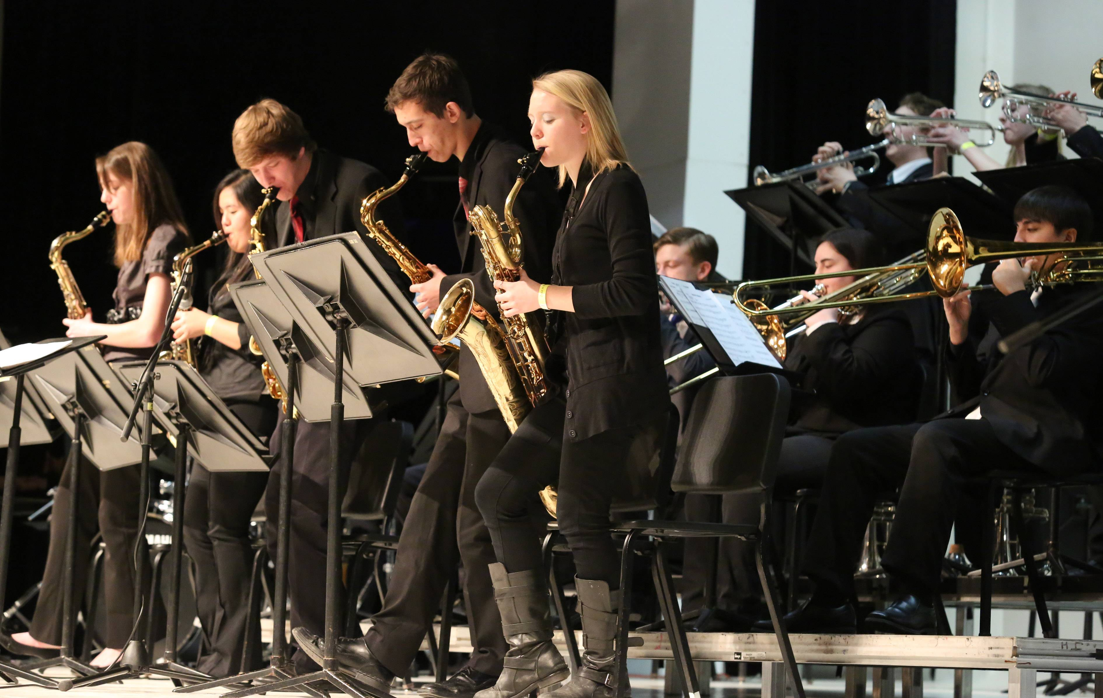 Schaumburg High School's jazz ensemble one performs at the 29th annual Jazz in the Meadows program on Saturday at Rolling Meadows High School.