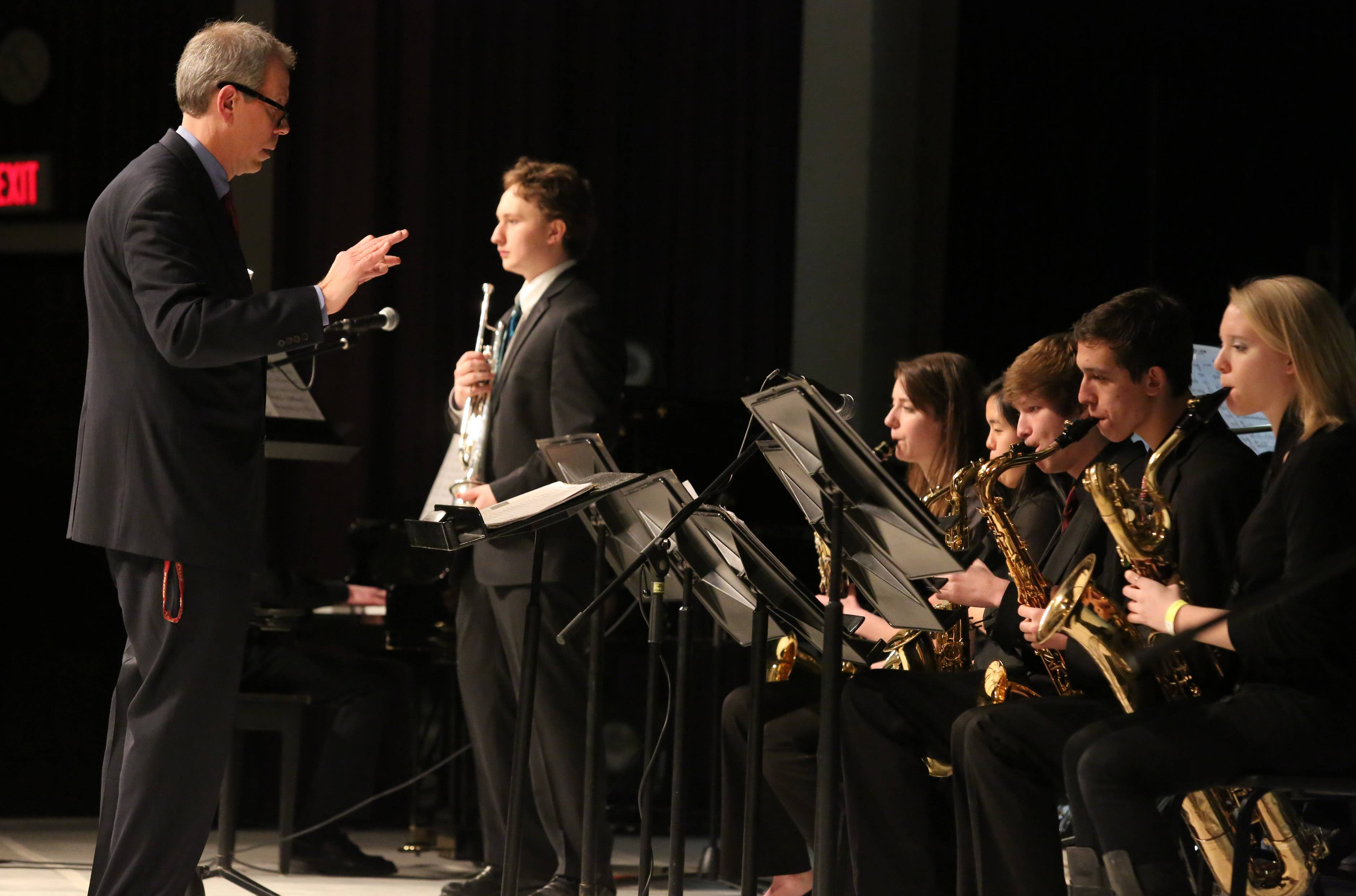 Schaumburg High School's jazz ensemble one directed by Kevin Miller performs at the 29th annual Jazz in the Meadows program on Saturday in the theater at Rolling Meadows High School.