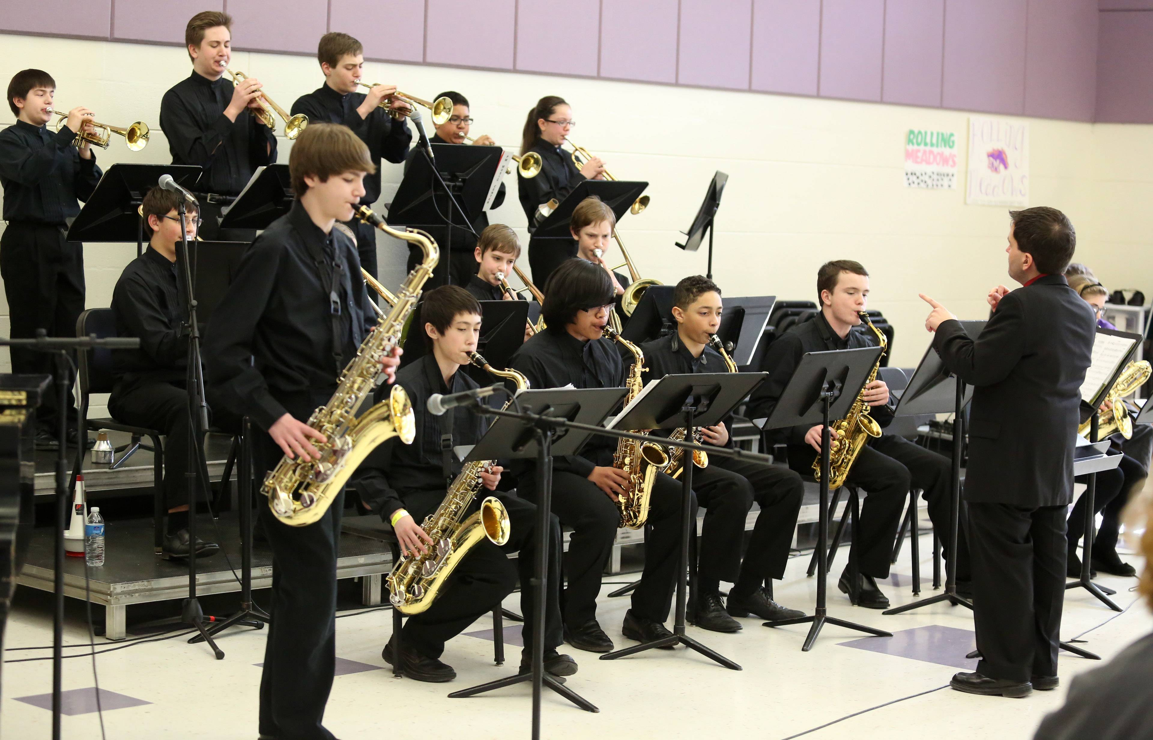 Grayslake Middle School's jazz band, directed by Steve Thomas, performs at the 29th annual Jazz in the Meadows program on Saturday in the band room at Rolling Meadows High School.