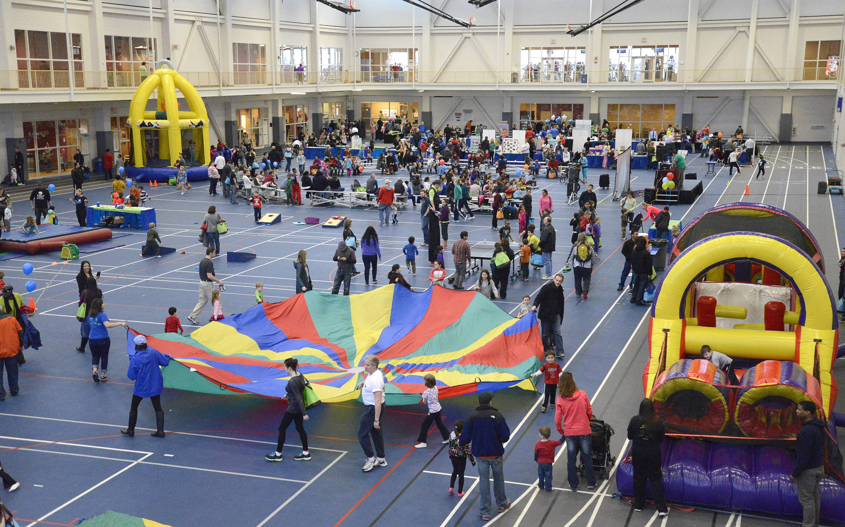 The annual Fitness Fun Fair for Kids at the Vaughn Athletic Center in Aurora filled the field house with vendors and activities for families.