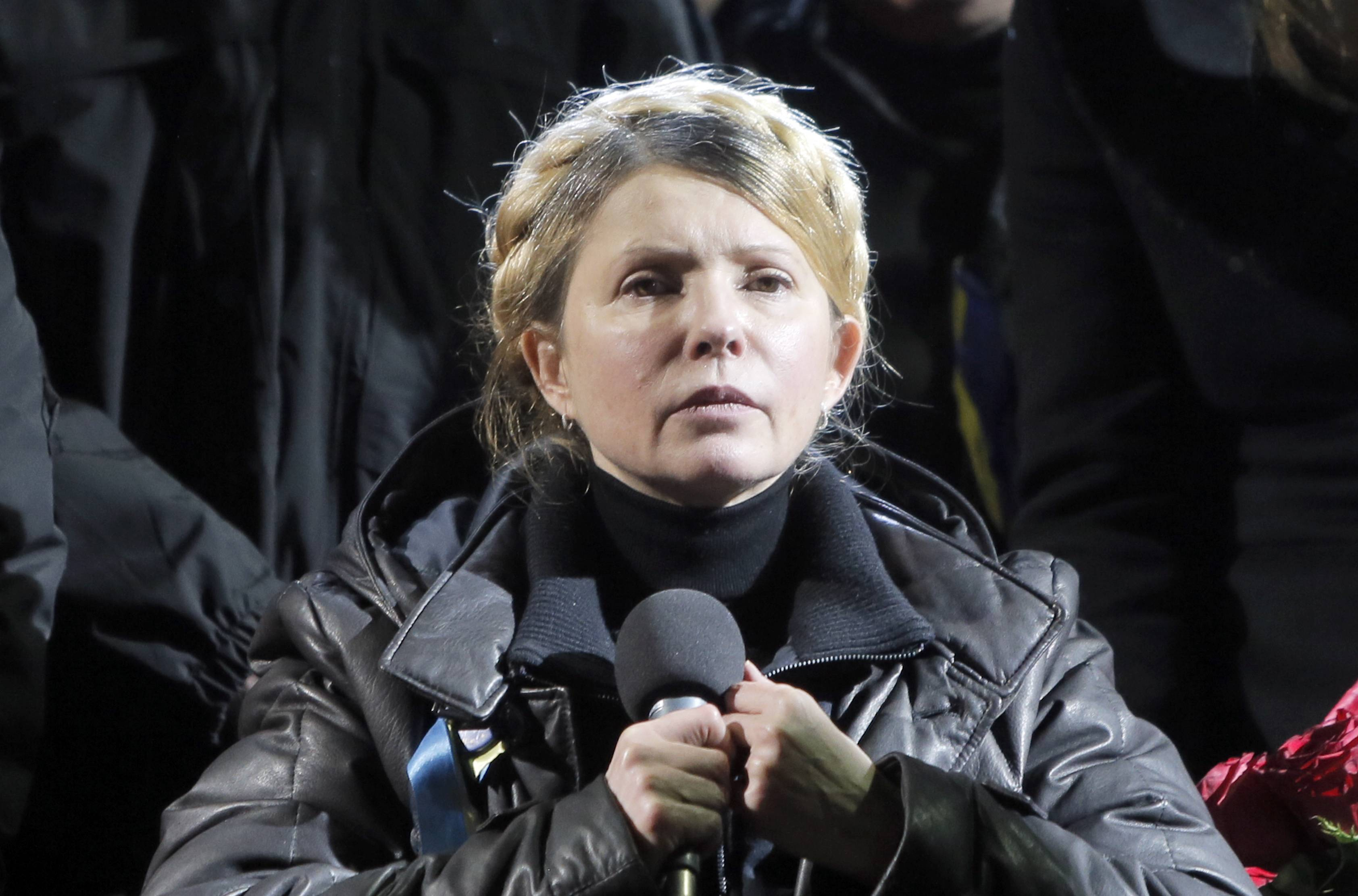 Former Ukrainian prime minister Yulia Tymoshenko addresses the crowd Saturday, hours after being released from prison.