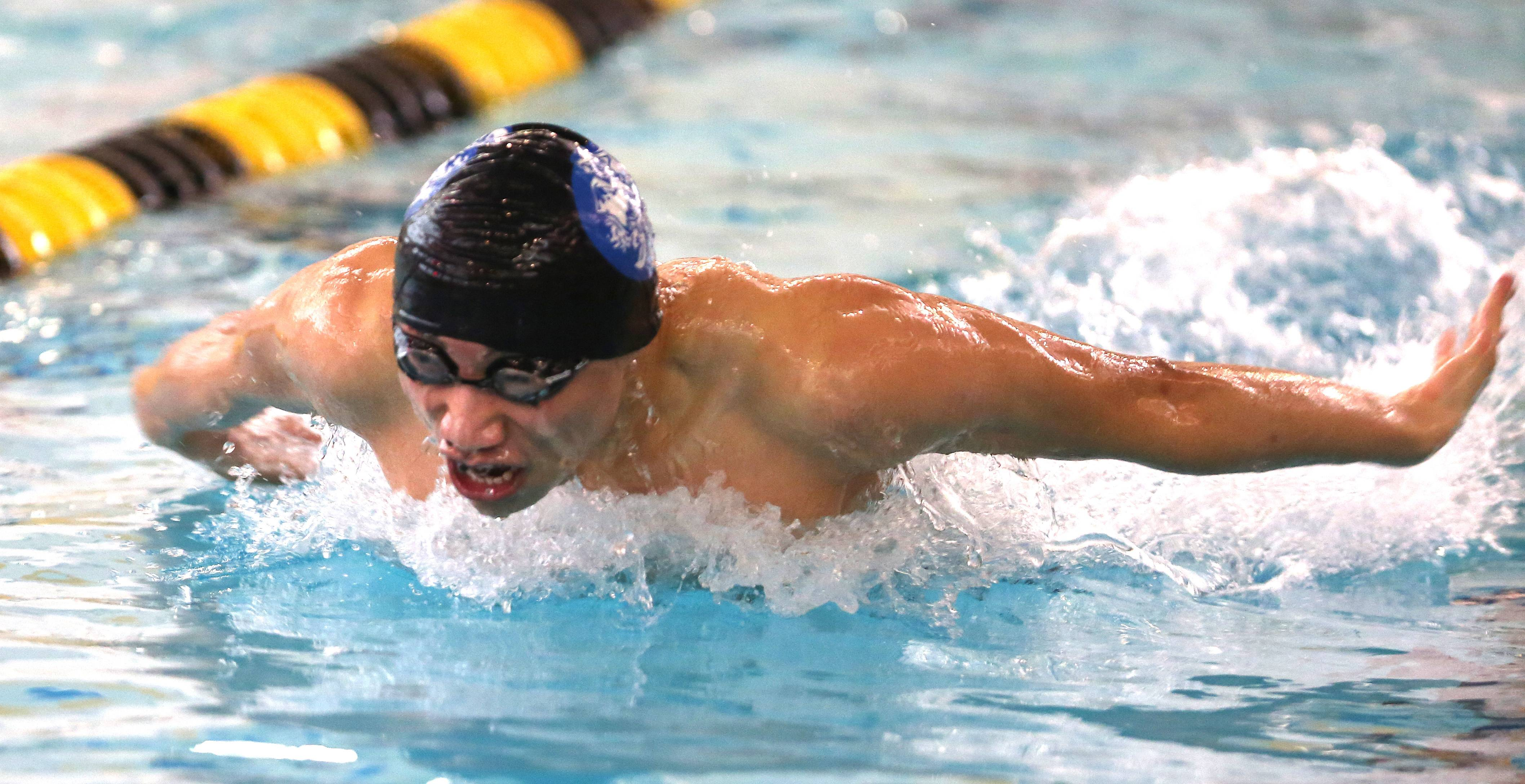 Steven Tan of the Illinois Math and Science Academy is the Metea Valley boys swimming sectional champion with a 49.06 state qualifying time and new pool record.