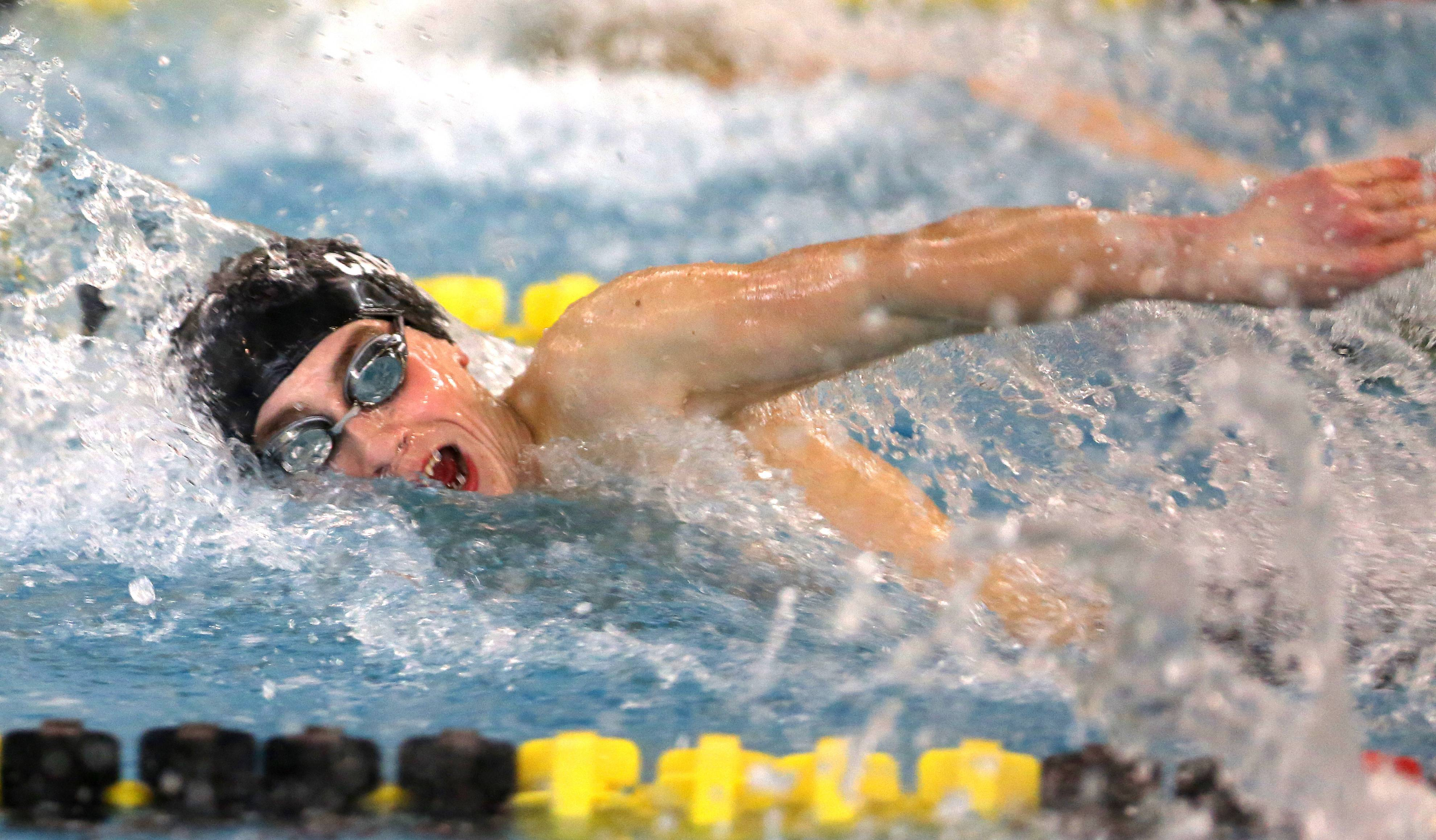 Marmion's Luke Bajda swims the 100 yard freestyle during the Metea Valley boys swimming sectional.