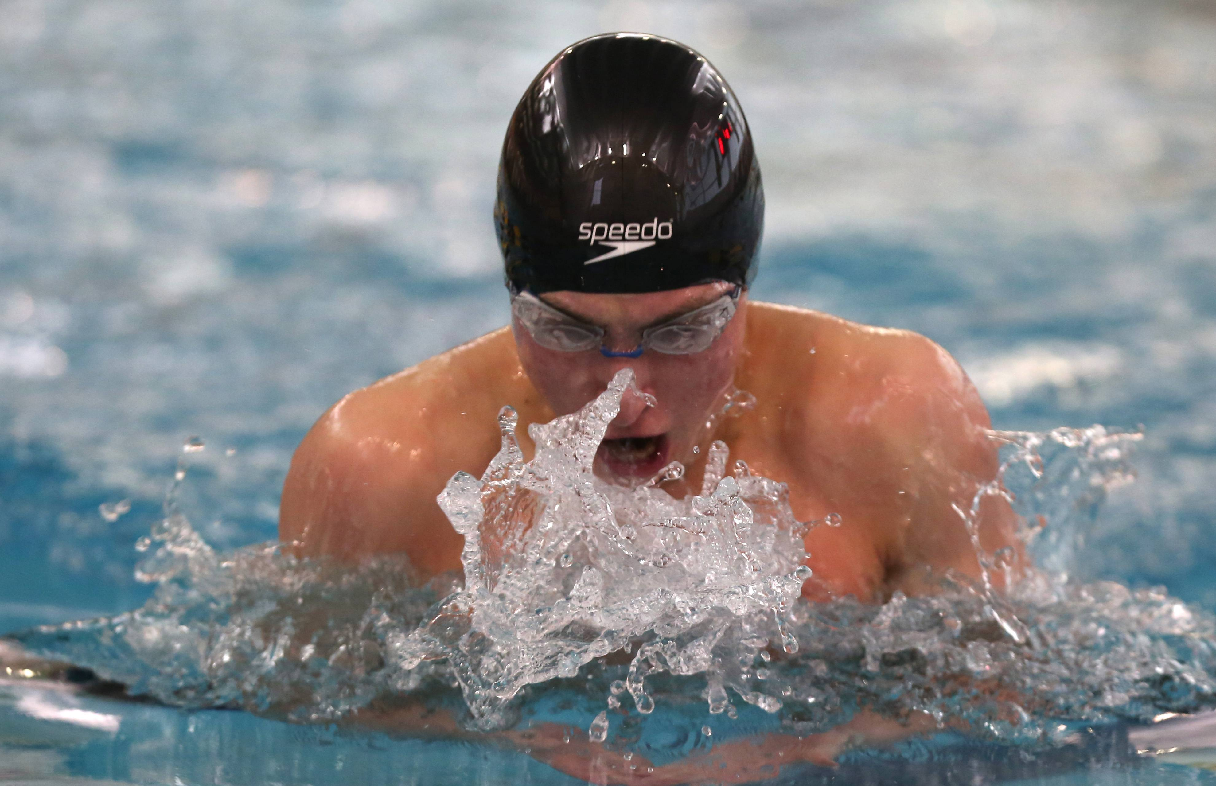 Waubonsie Valley's Jared Marrs swims the 100 yard breaststroke  during the Metea Valley boys swimming sectional.