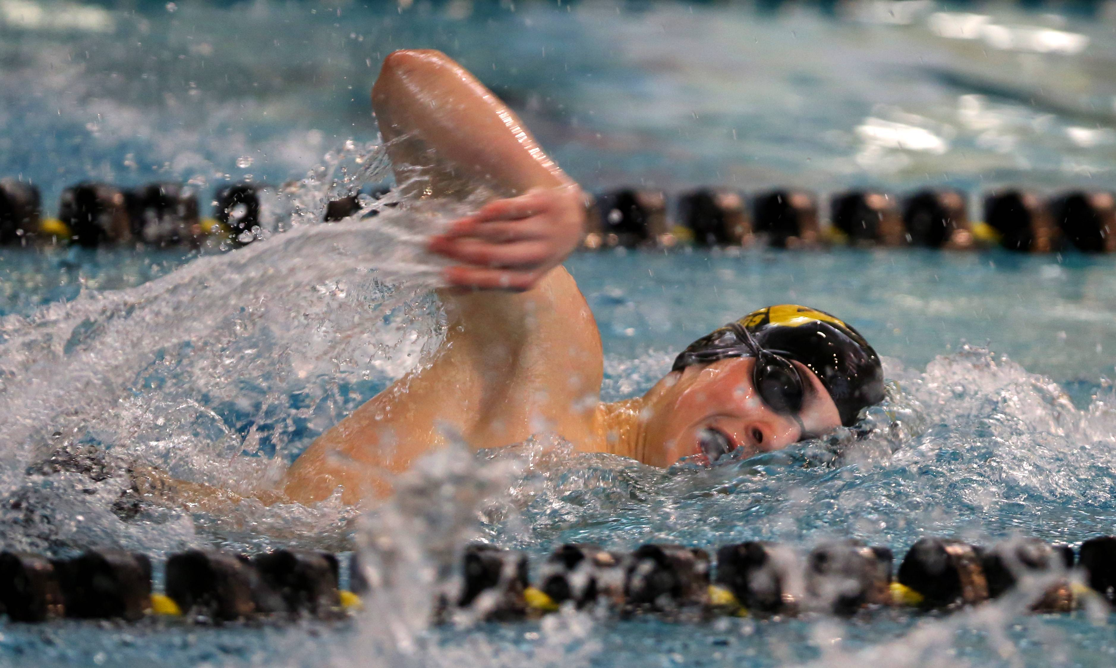 Matea Valley's Kevin Kluge swims the 500 yard freestyle during the Metea Valley boys swimming sectional.