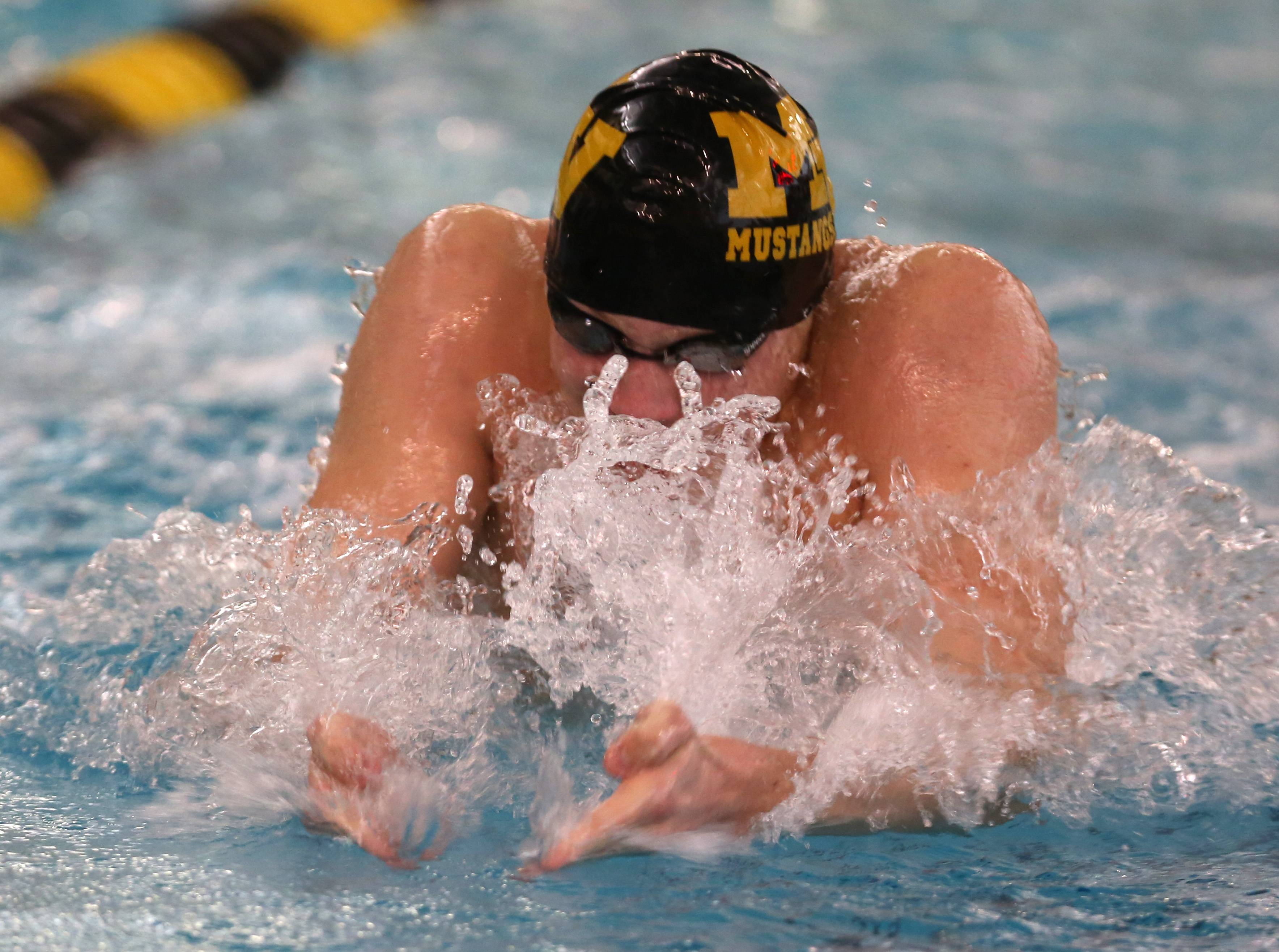 Matea Valley's Jordan O'Brien swims the 100 yard breaststroke during the Metea Valley boys swimming sectional.