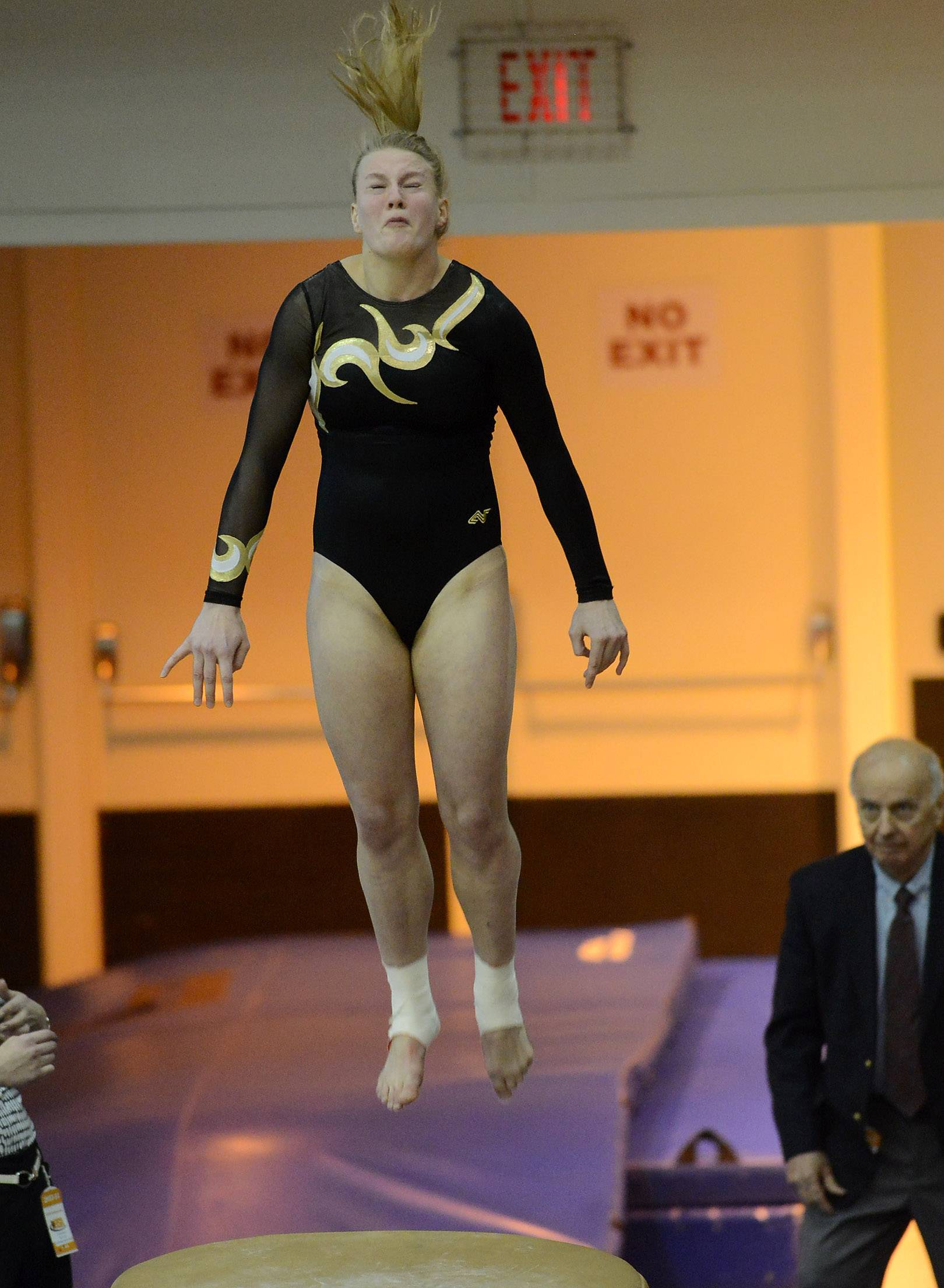 Allison Wahrman of Glenbard North finishes sixth in the vault during State Girls Gymnastics Saturday at Palatine High School.