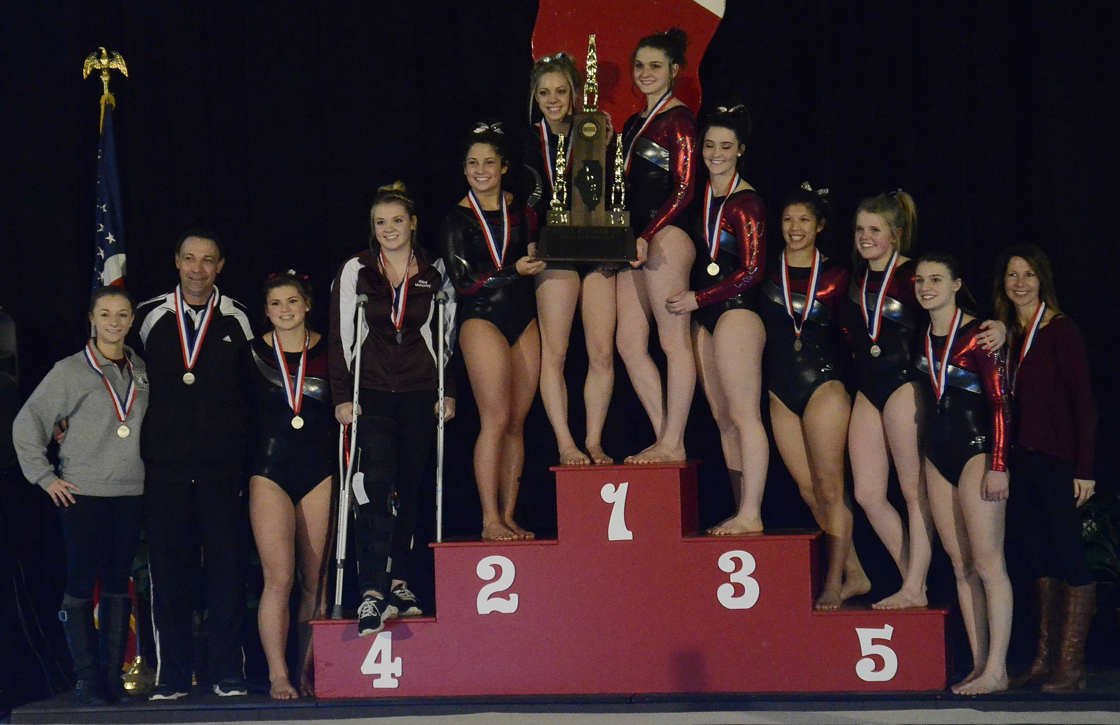 Prairie Ridge takes second in team standings at State Girls Gymnastics Saturday at Palatine High School.