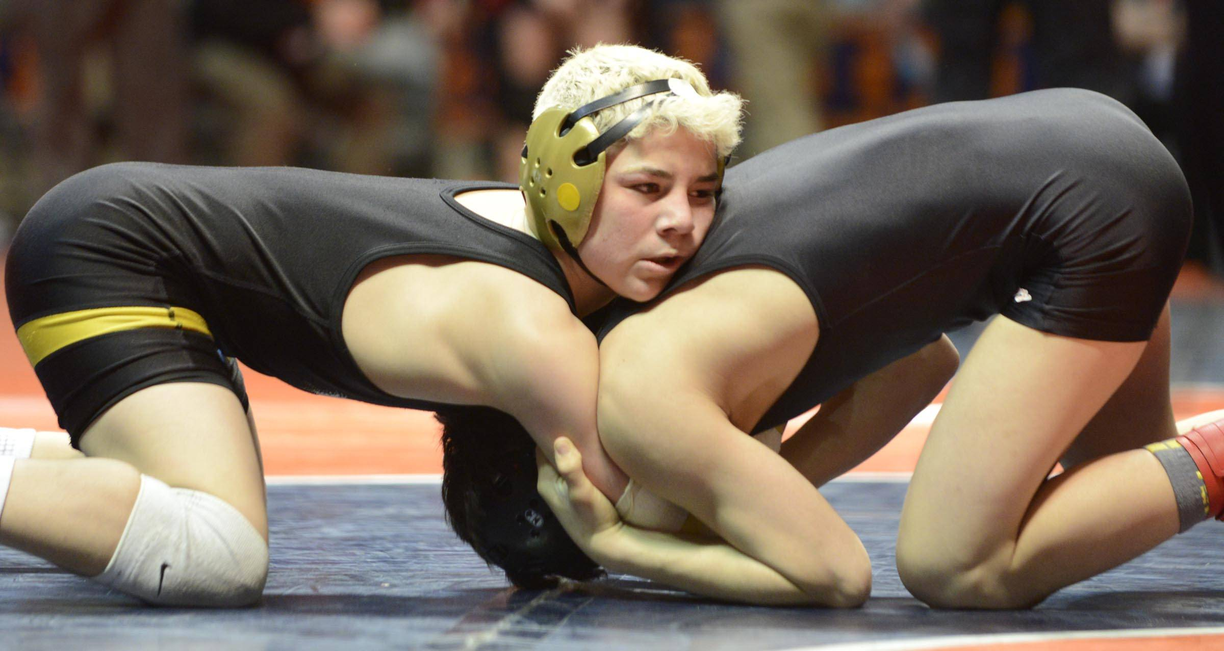 Austin Gomez of Glenbard North High School competes against Rudy Yates of Brother Rice High School Saturday in the 113 -pound weight class third place match of the wrestling IHSA Class 3A state tournament at State Farm Center in Champaign.