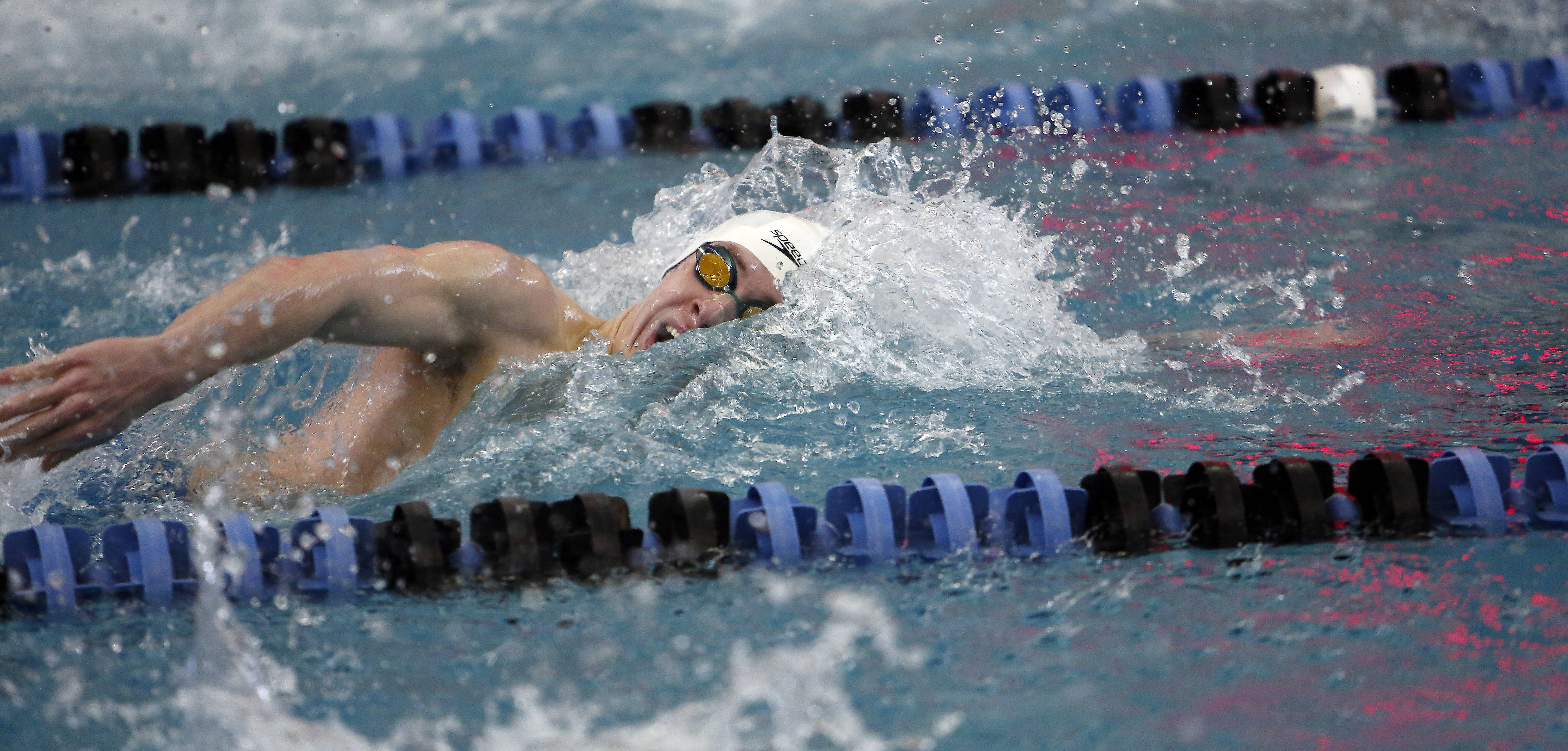 Geneva's Nathan Jesko, competes in the 200 yard freestyle during the 2014 Boys Swimming and Diving IHSA Sectional Championships Saturday at St. Charles North High School in St. Charles.